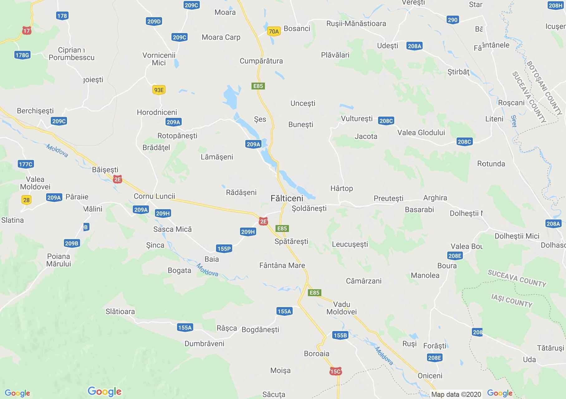 Fălticeni környéke interaktív turista térképe.