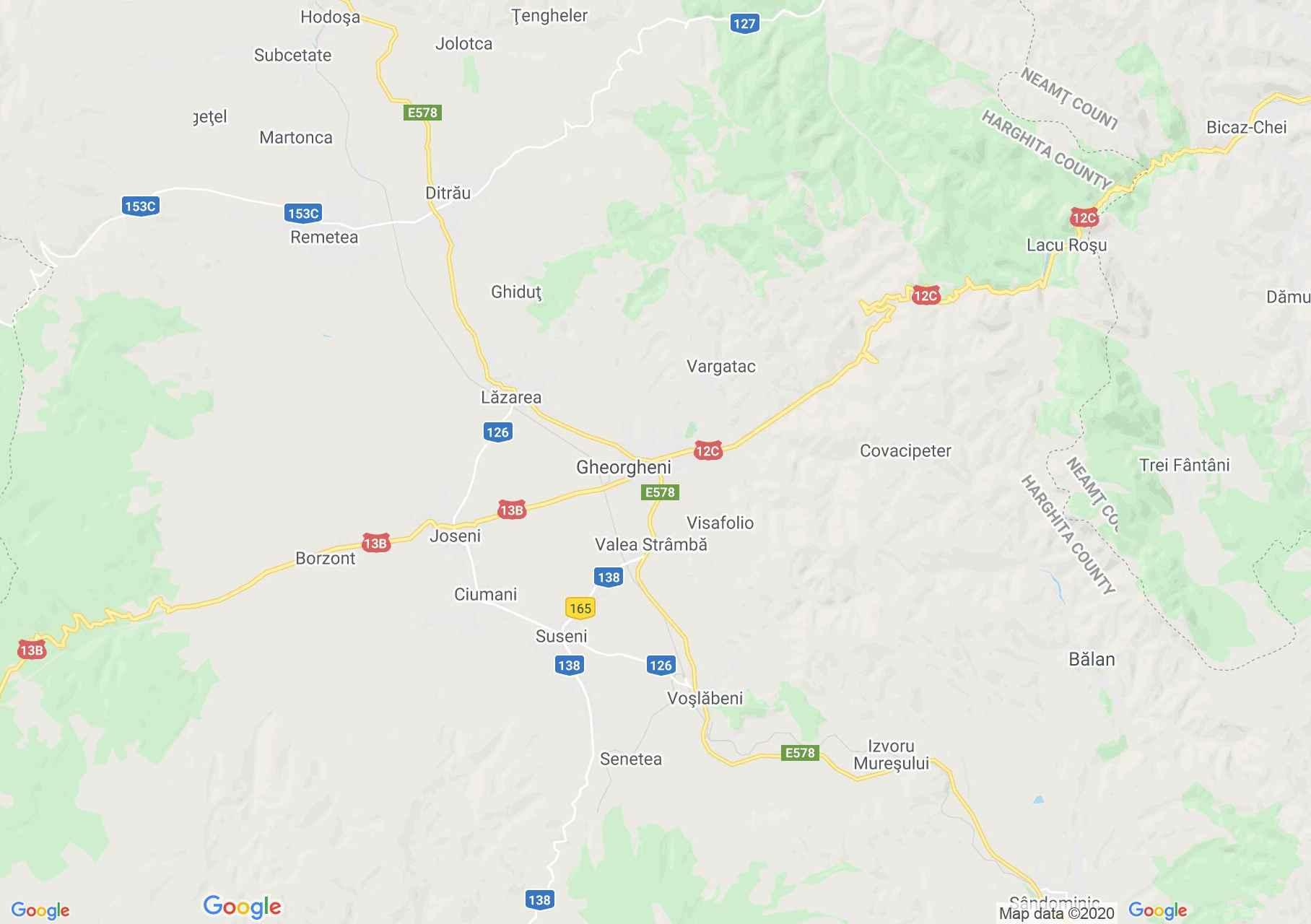 Zona Gheorgheni, Harta turistică interactivă