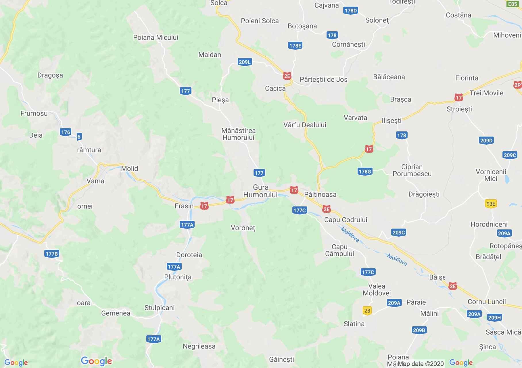 Gura Humorului környéke interaktív turista térképe.
