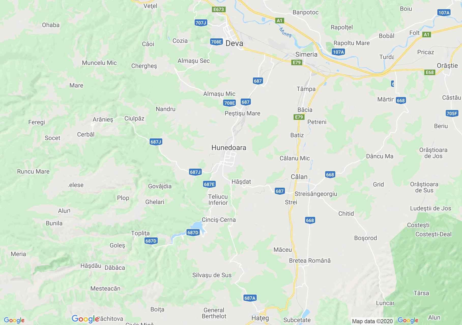 Hundoara area, Interactive tourist map