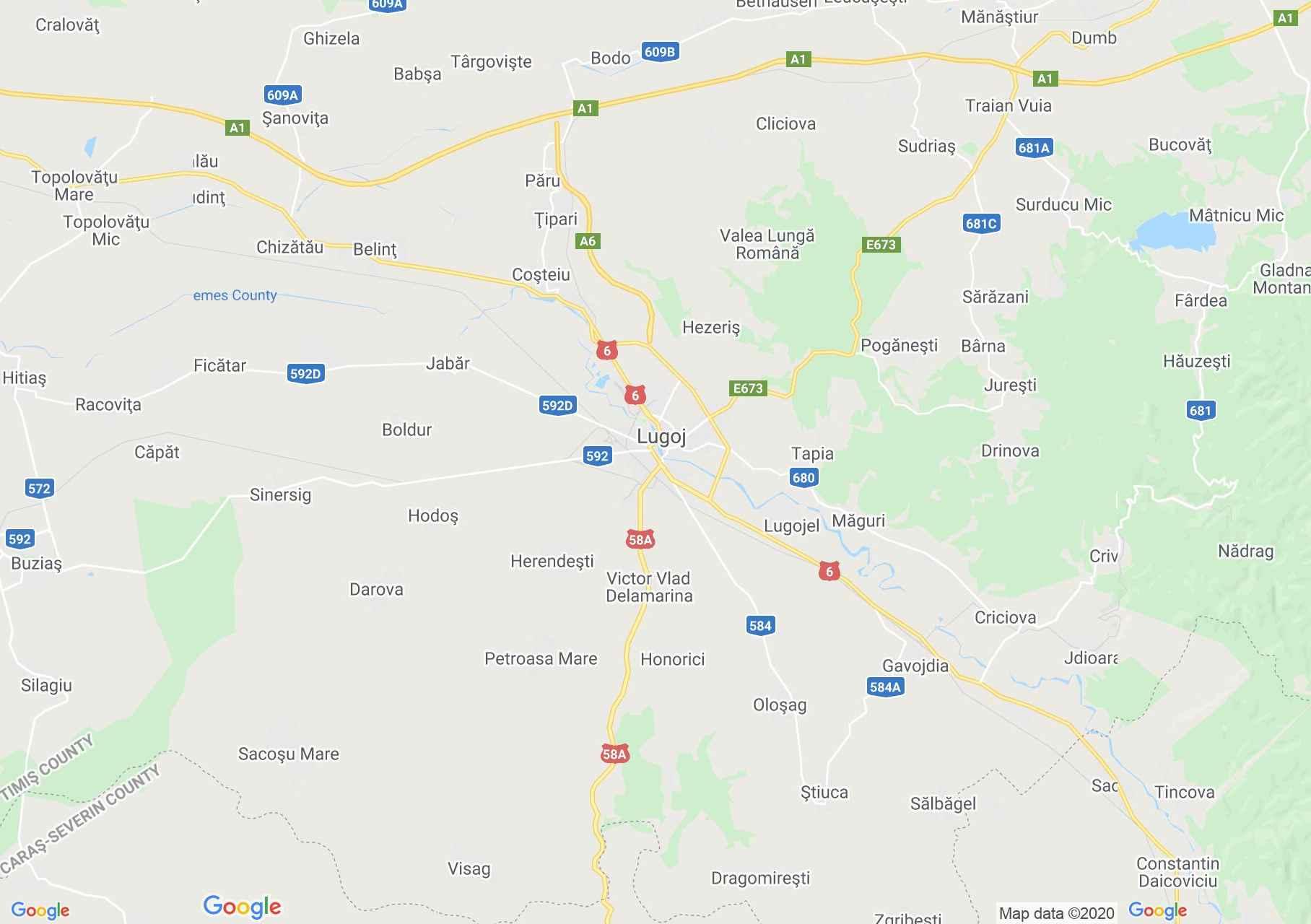 Lugozs környéke interaktív turista térképe.