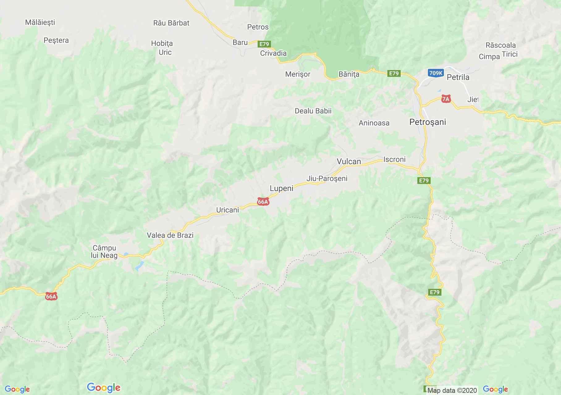 Lupeni környéke interaktív turista térképe.