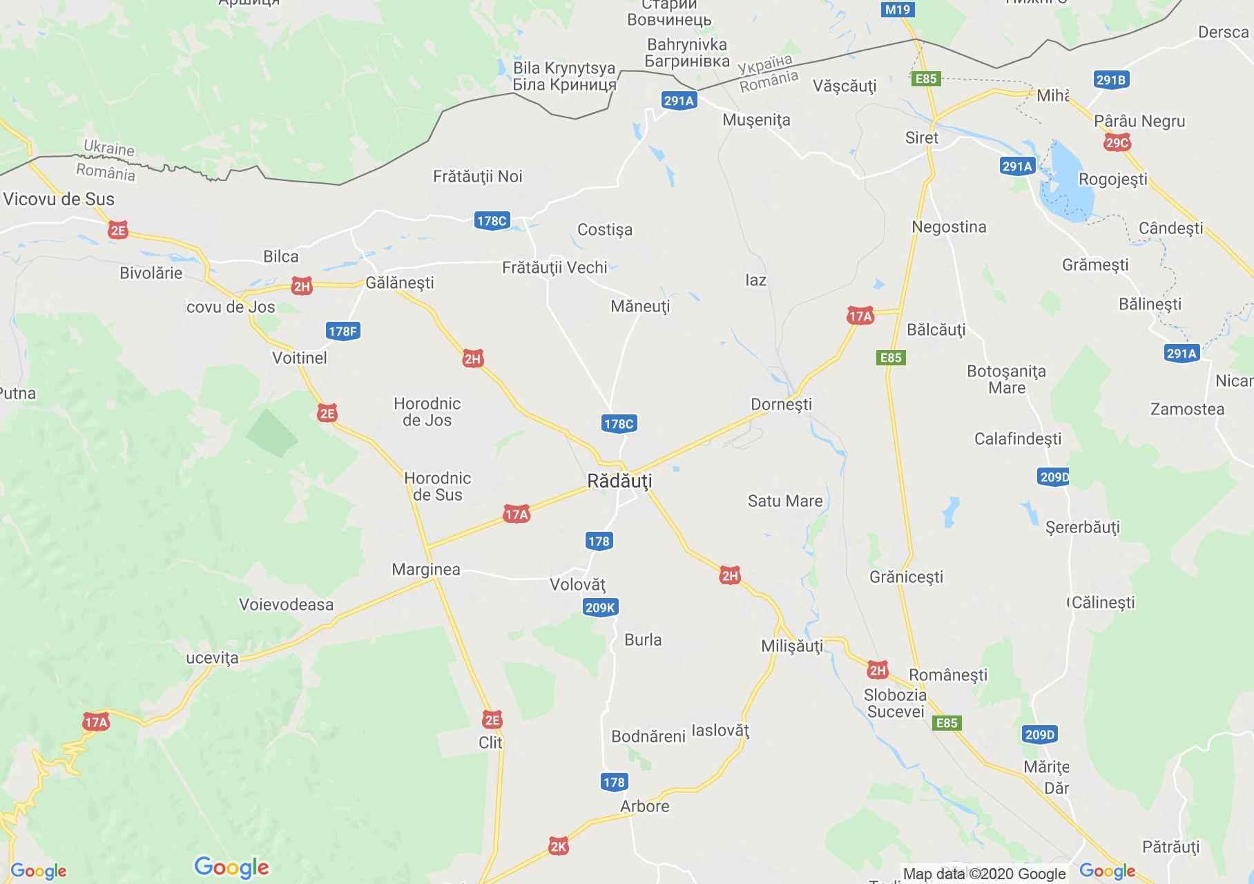 Rădăuţi környéke interaktív turista térképe.