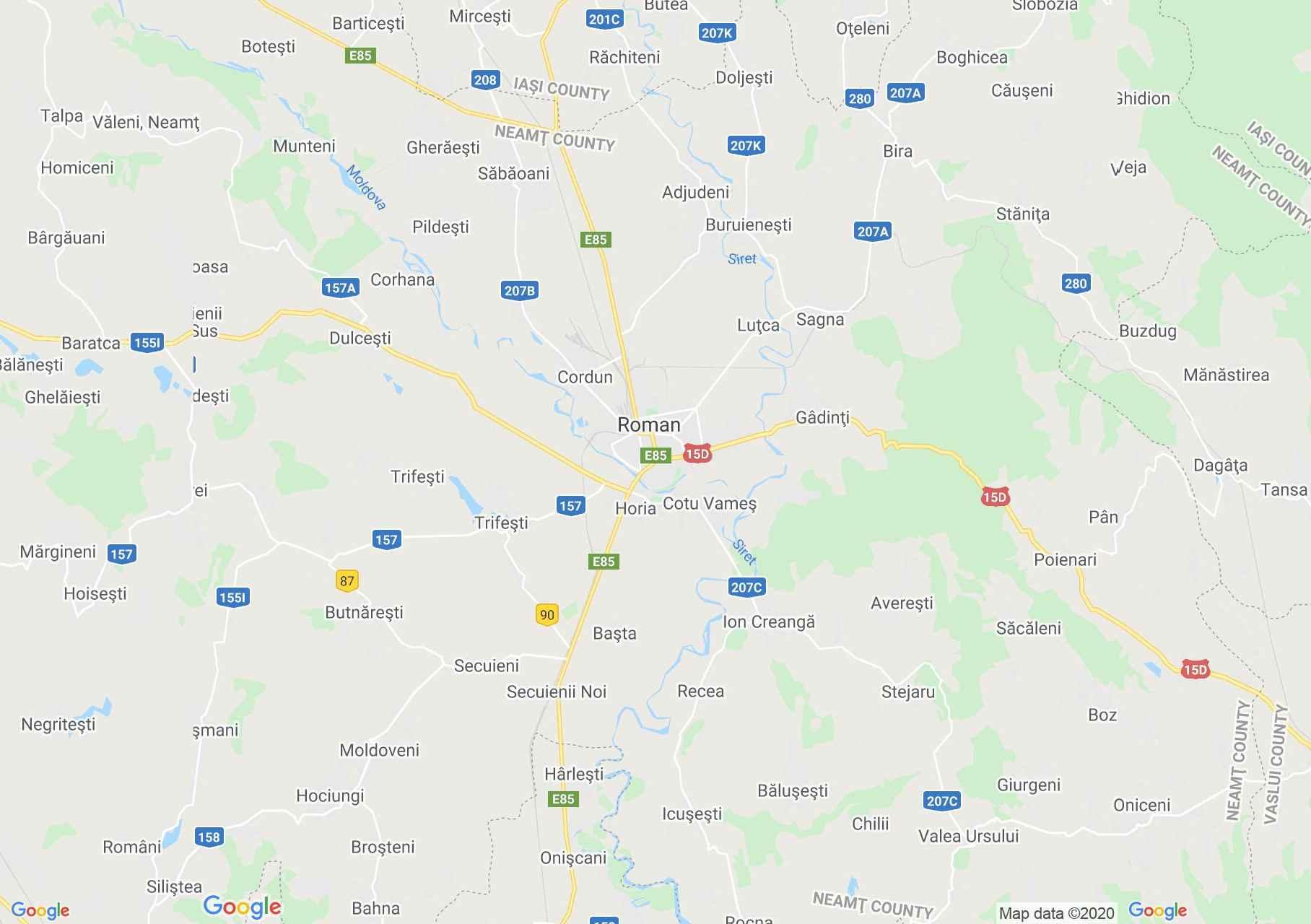 Románvásár környéke interaktív turista térképe.