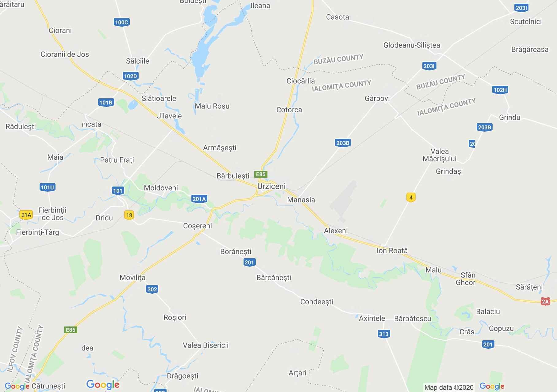 Zona Urziceni, Harta turistică interactivă
