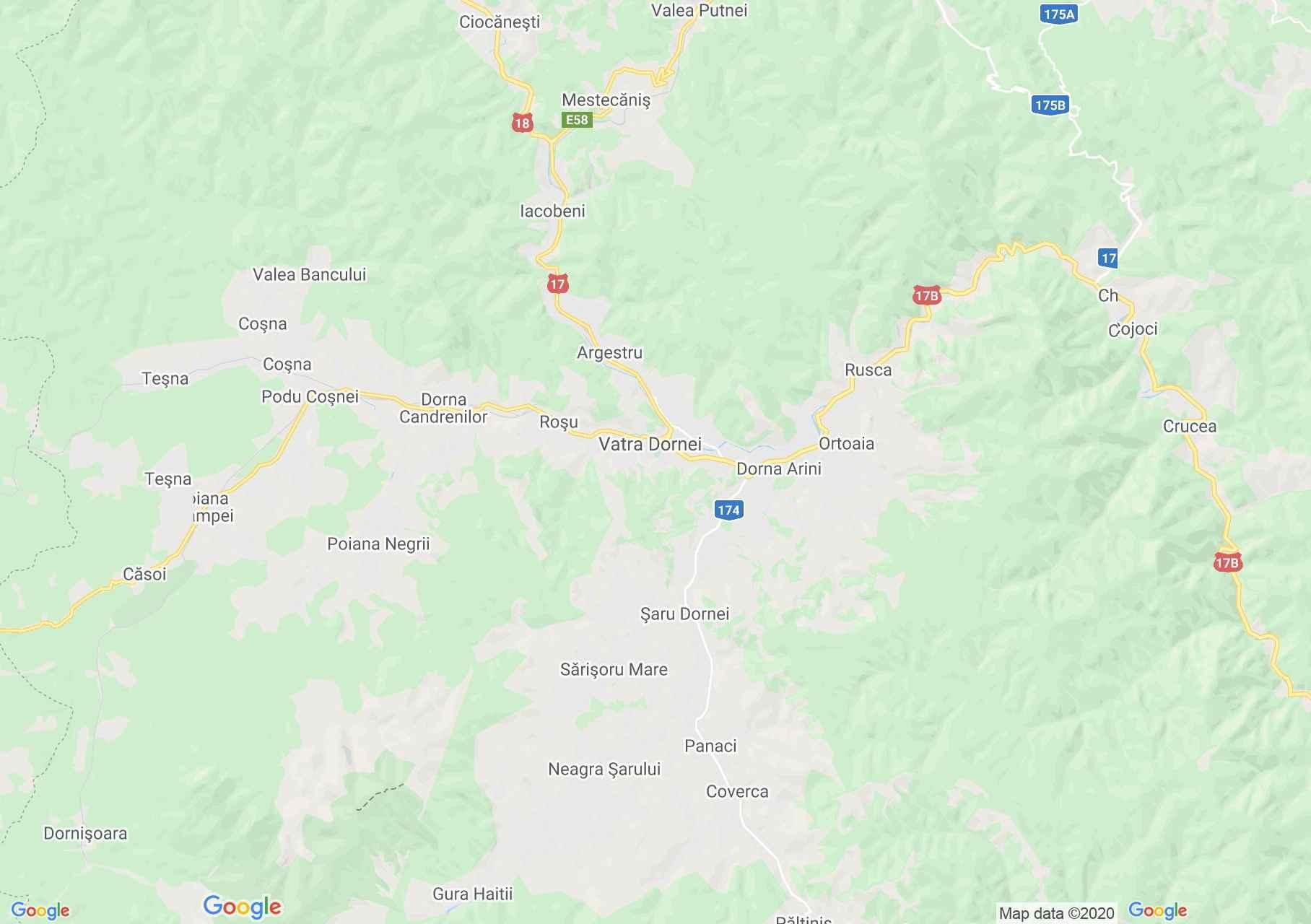 Vatra Dornei környéke interaktív turista térképe.
