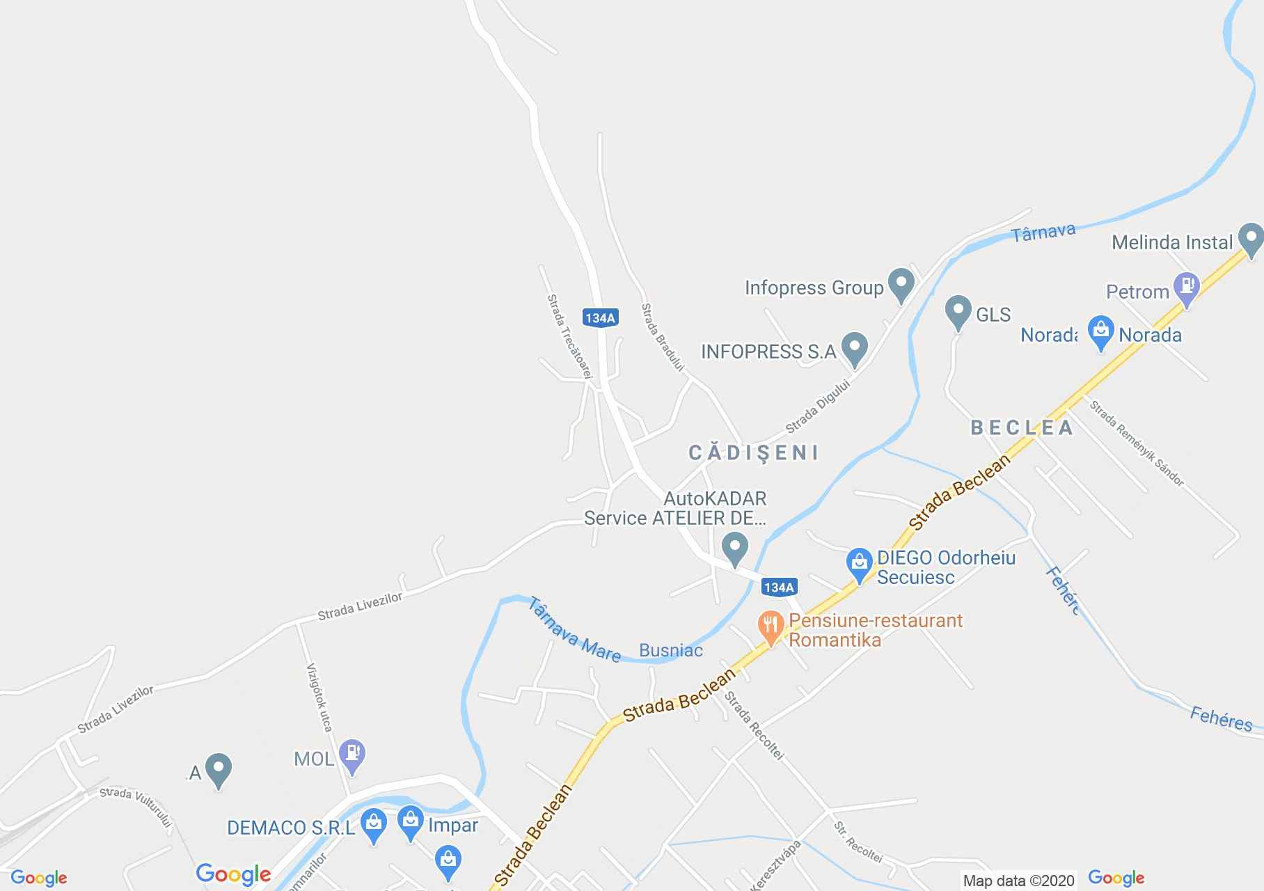 Kadicsfalva interaktív turista térképe.