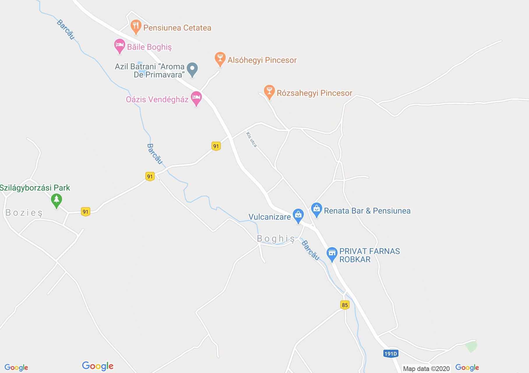 Boghiş, Harta turistică interactivă