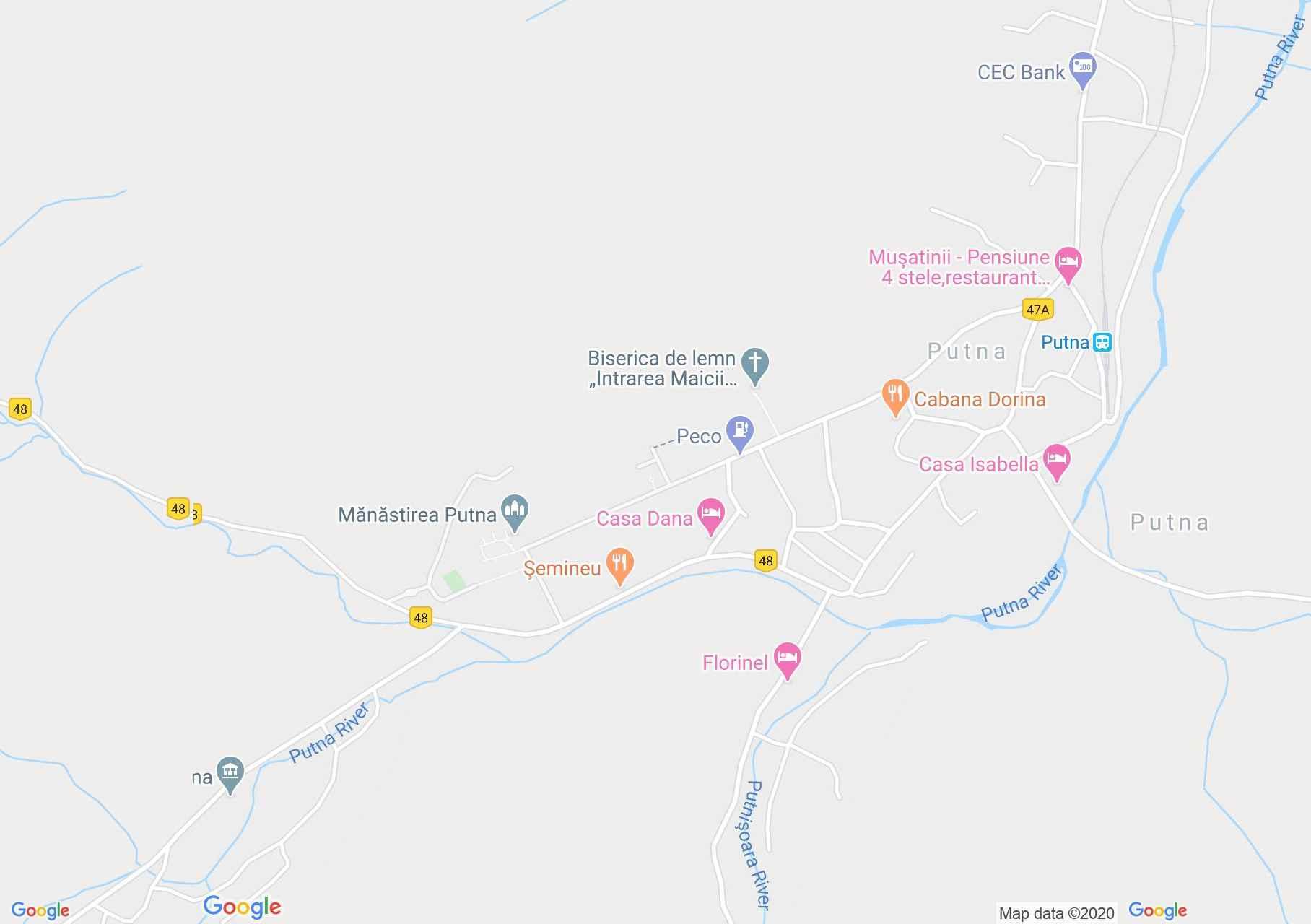 Putna interaktív turista térképe.