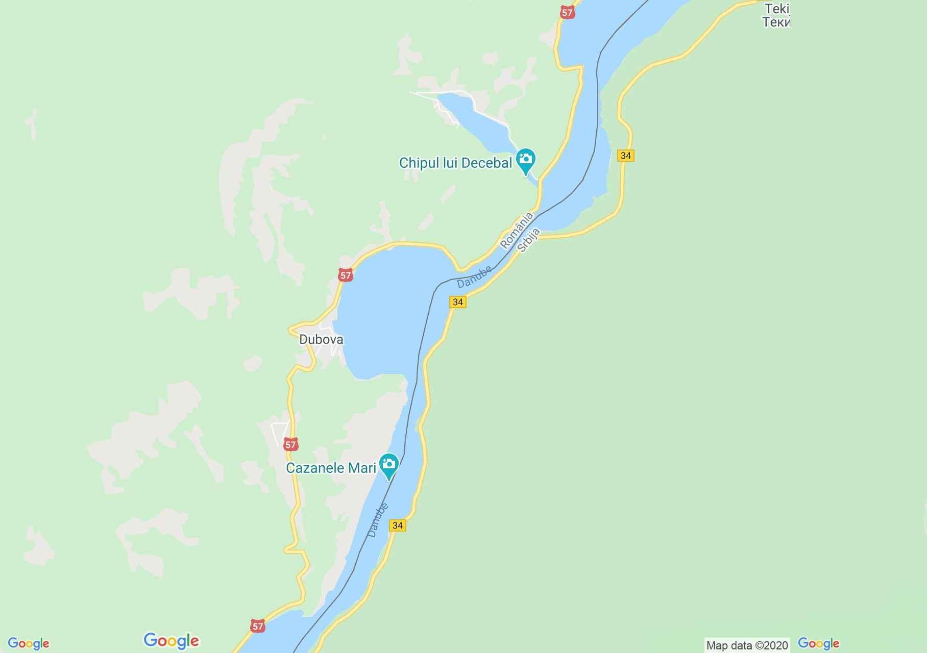 Cazane, Harta turistică interactivă