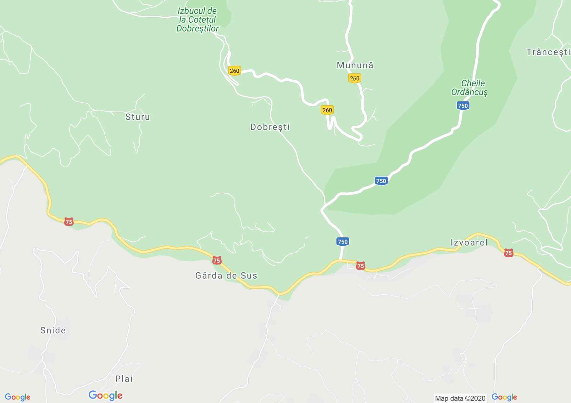 Felsőgírda interaktív turista térképe.
