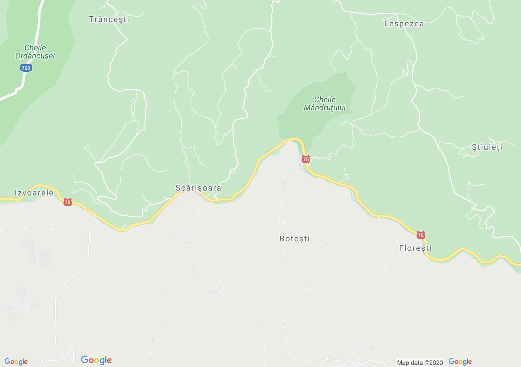 Scărişoara, Harta turistică interactivă