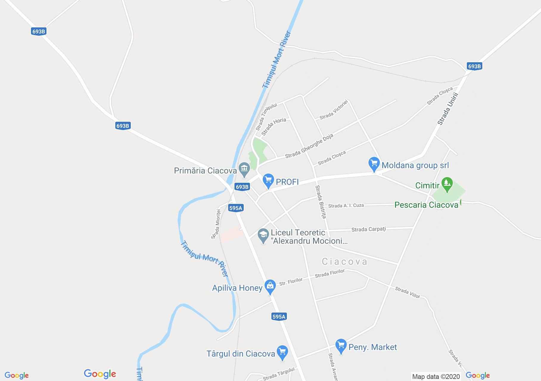 Ciacova, Harta turistică interactivă