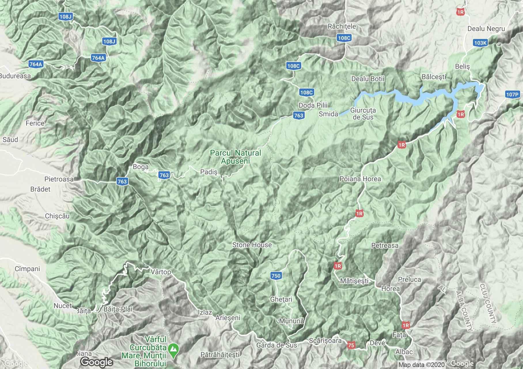 Apuseni: Munţii Bihor, Harta turistică interactivă