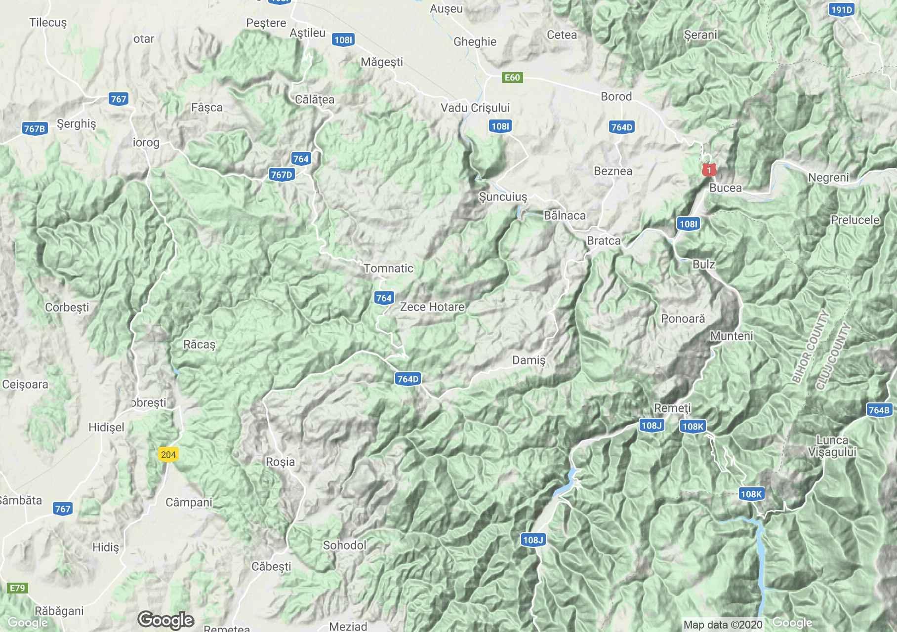 Erdélyi Szigethegység: Királyerdő interaktív turista térképe.