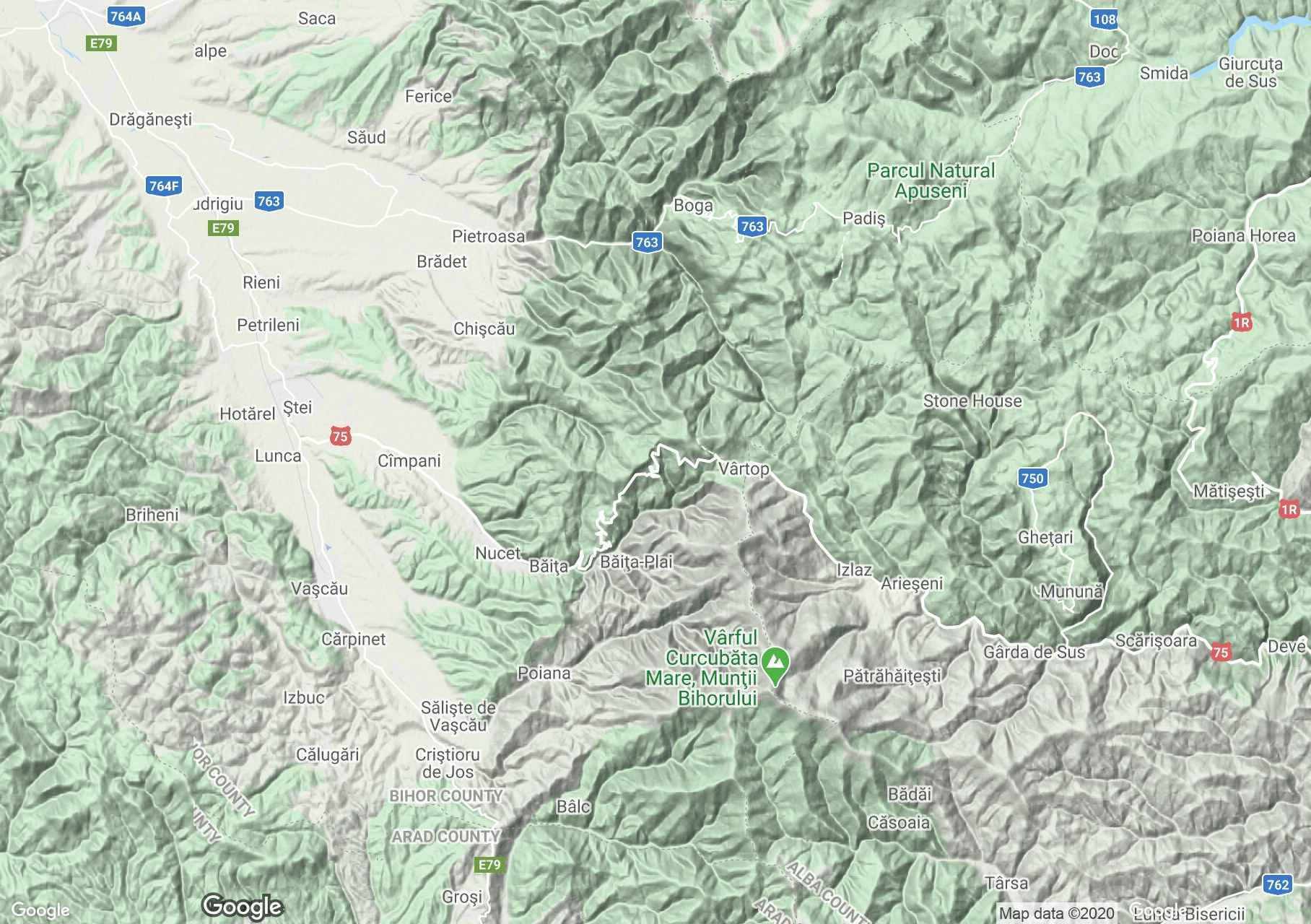 Apuseni: Zona Sighiştel-Vârtop, Harta turistică interactivă