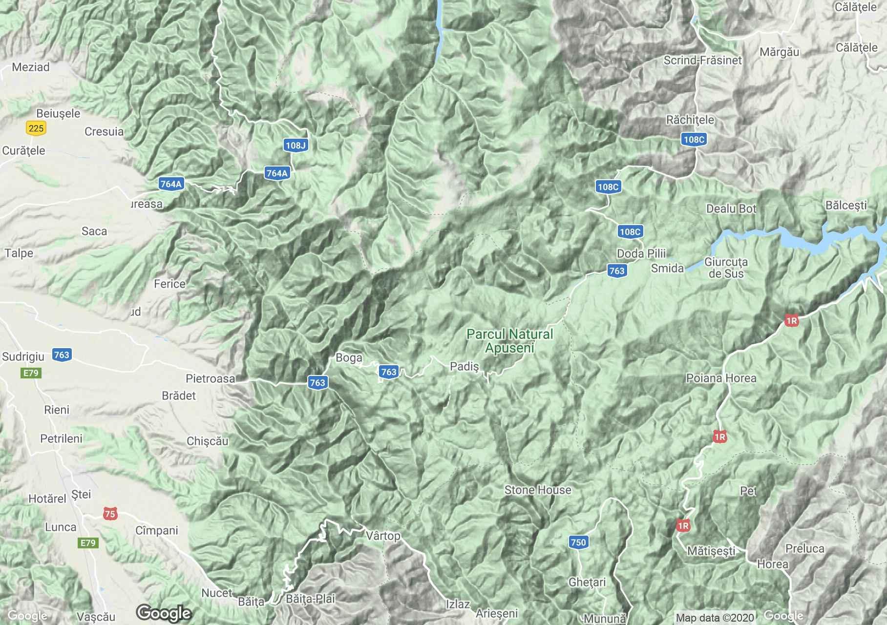 Erdélyi Szigethegység: Biharfüred-Pádis-Csodavár interaktív turista térképe.
