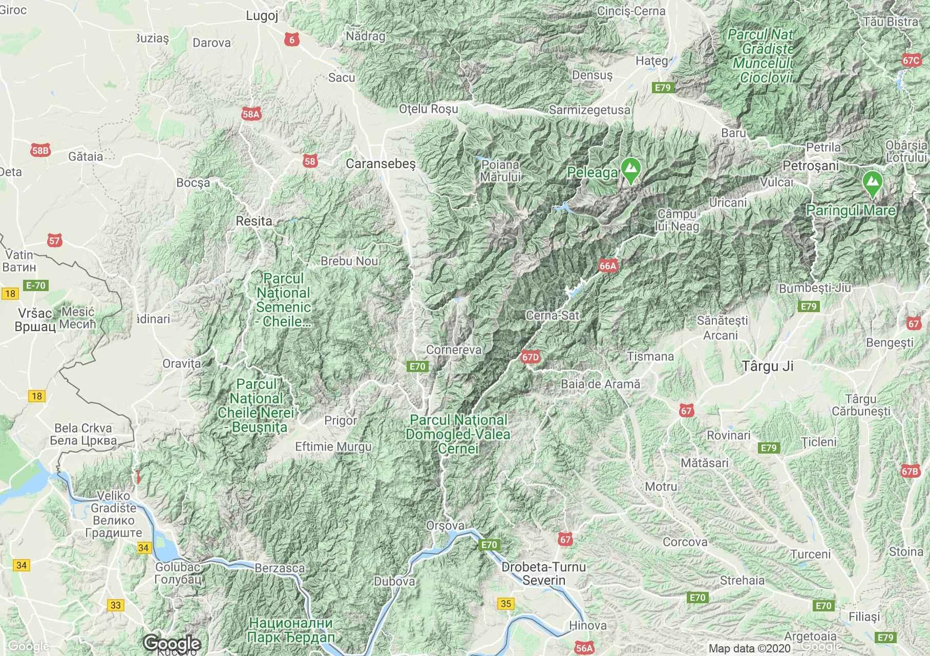 Bánsági hegység interaktív turista térképe.