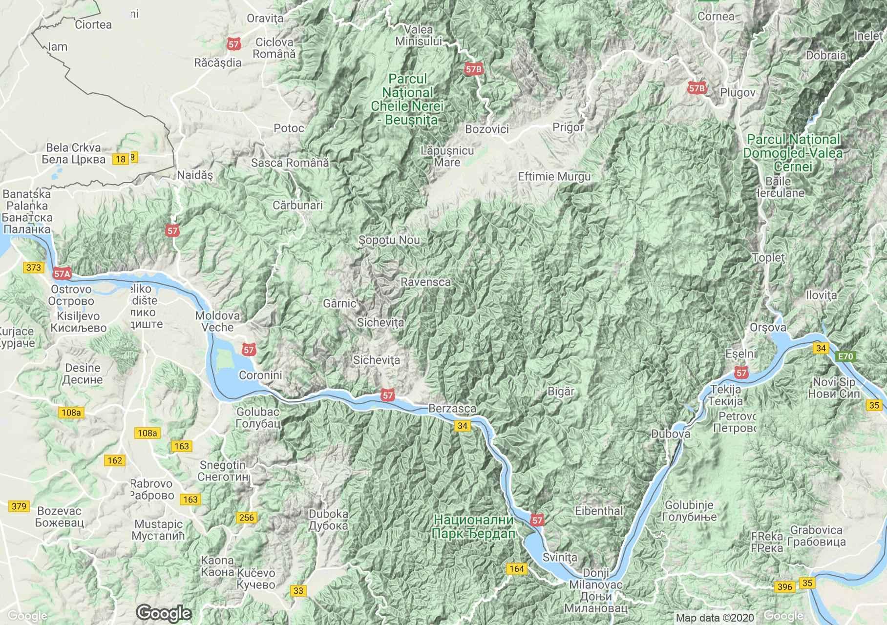 Banati hegység: Almás hegység interaktív turista térképe.