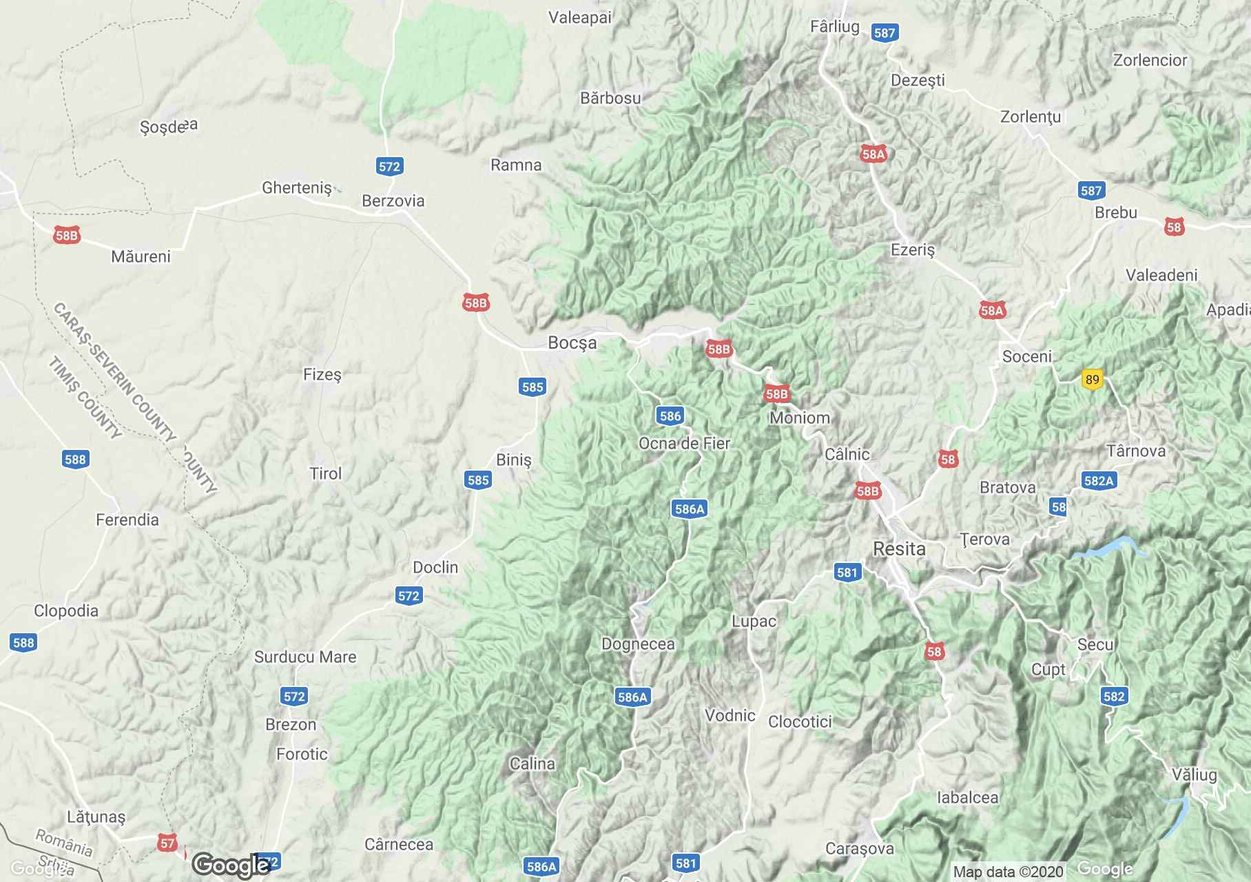 Banat: Dognecea Mountains, Interactive tourist map
