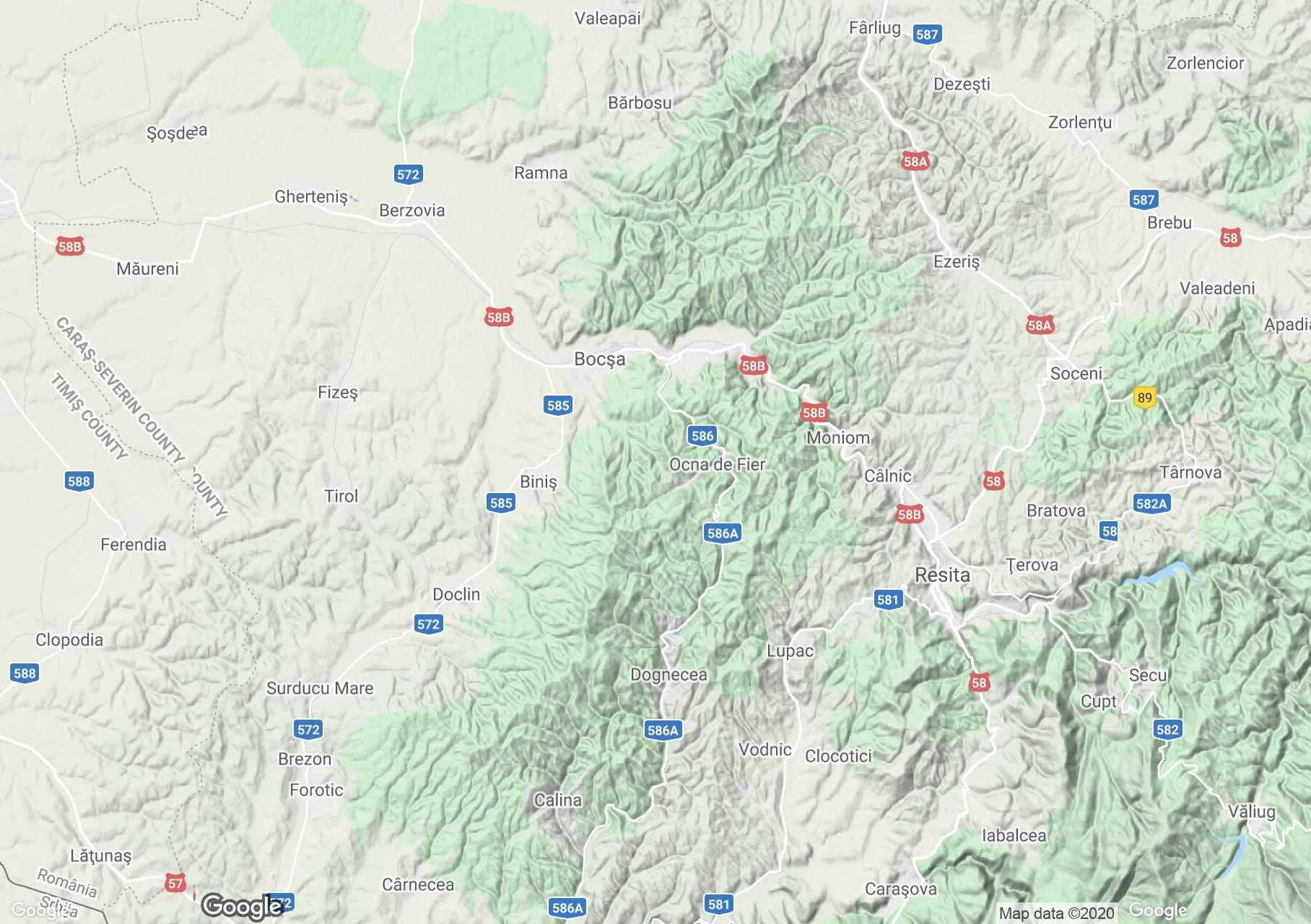 Banat: Munţii Dognecea, Harta turistică interactivă