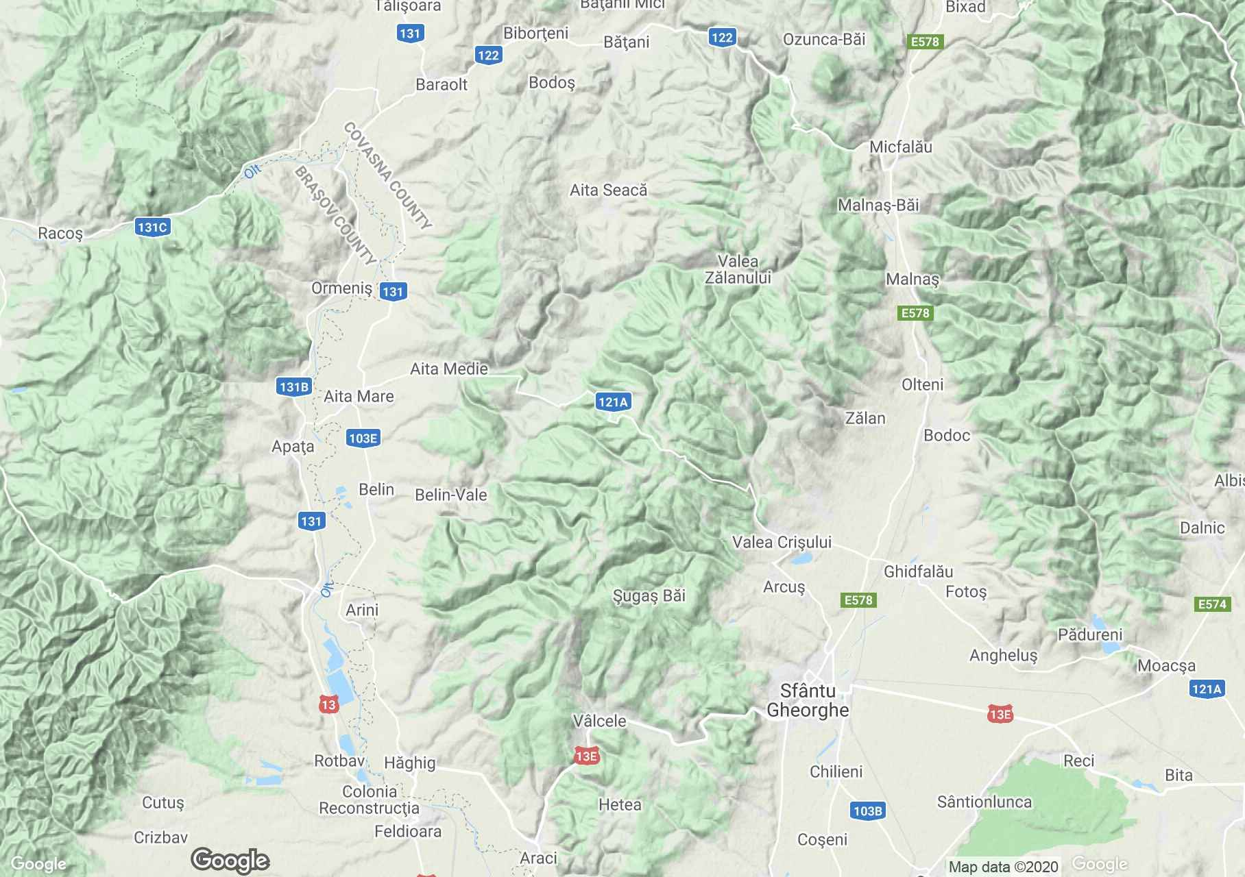 Barót-hegység interaktív turista térképe.
