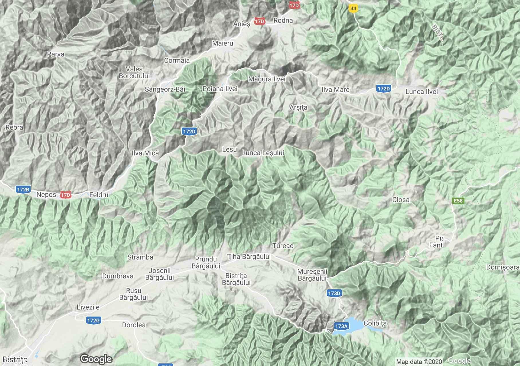 Bârgăului Mountains, Interactive tourist map