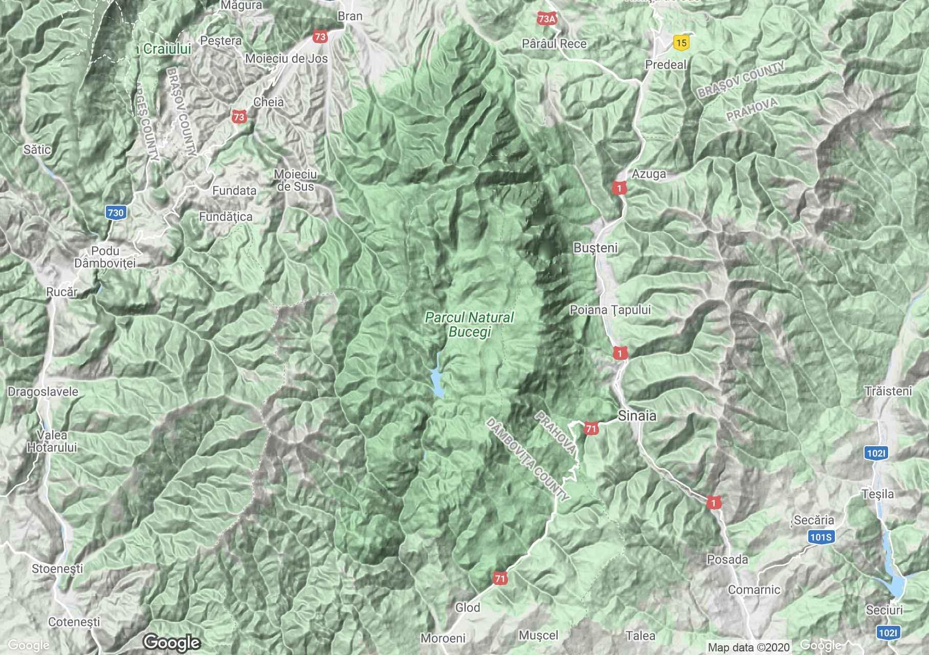 Bucsecs-hegység interaktív turista térképe.