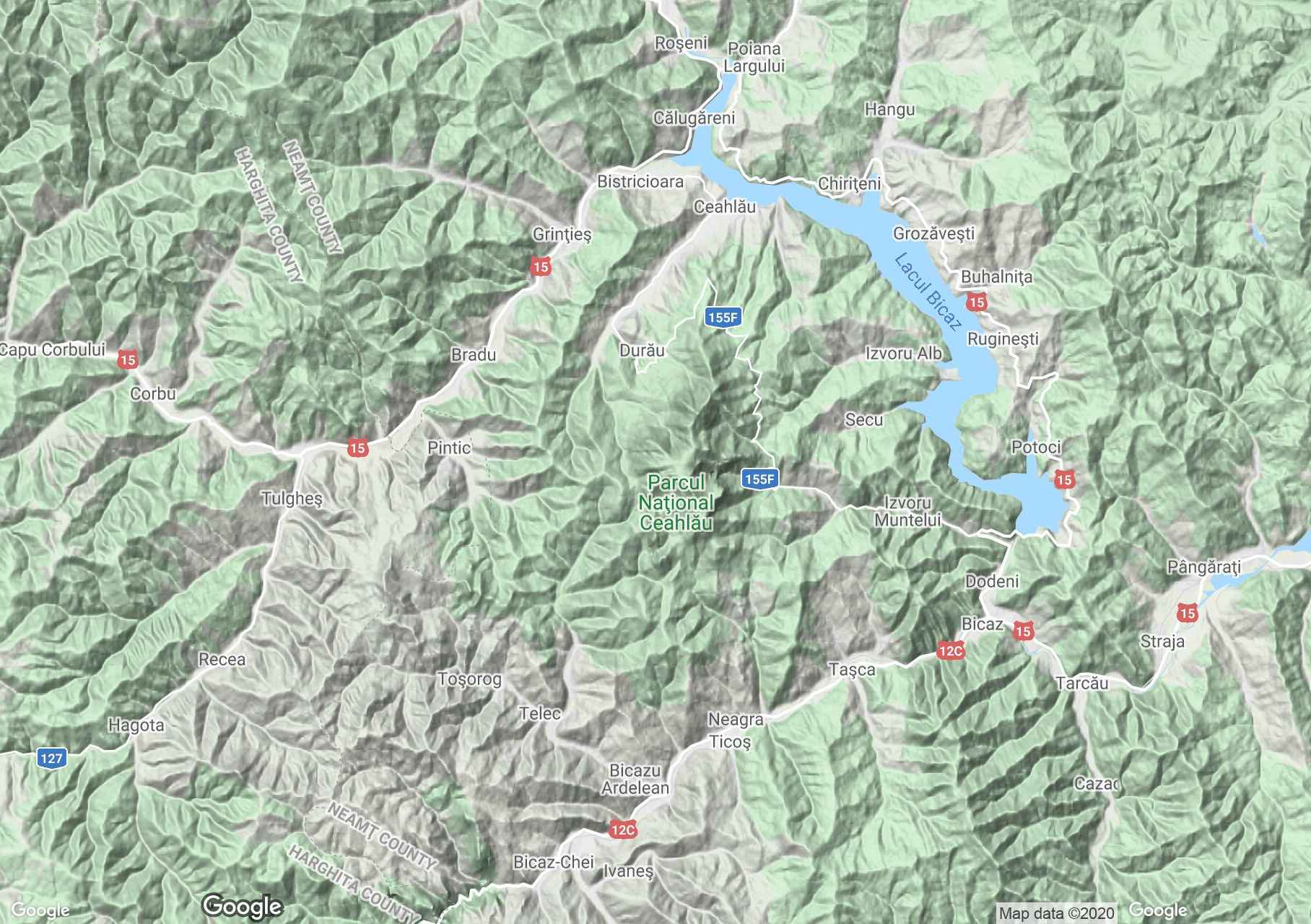 Munţii Cehlău, Harta turistică interactivă