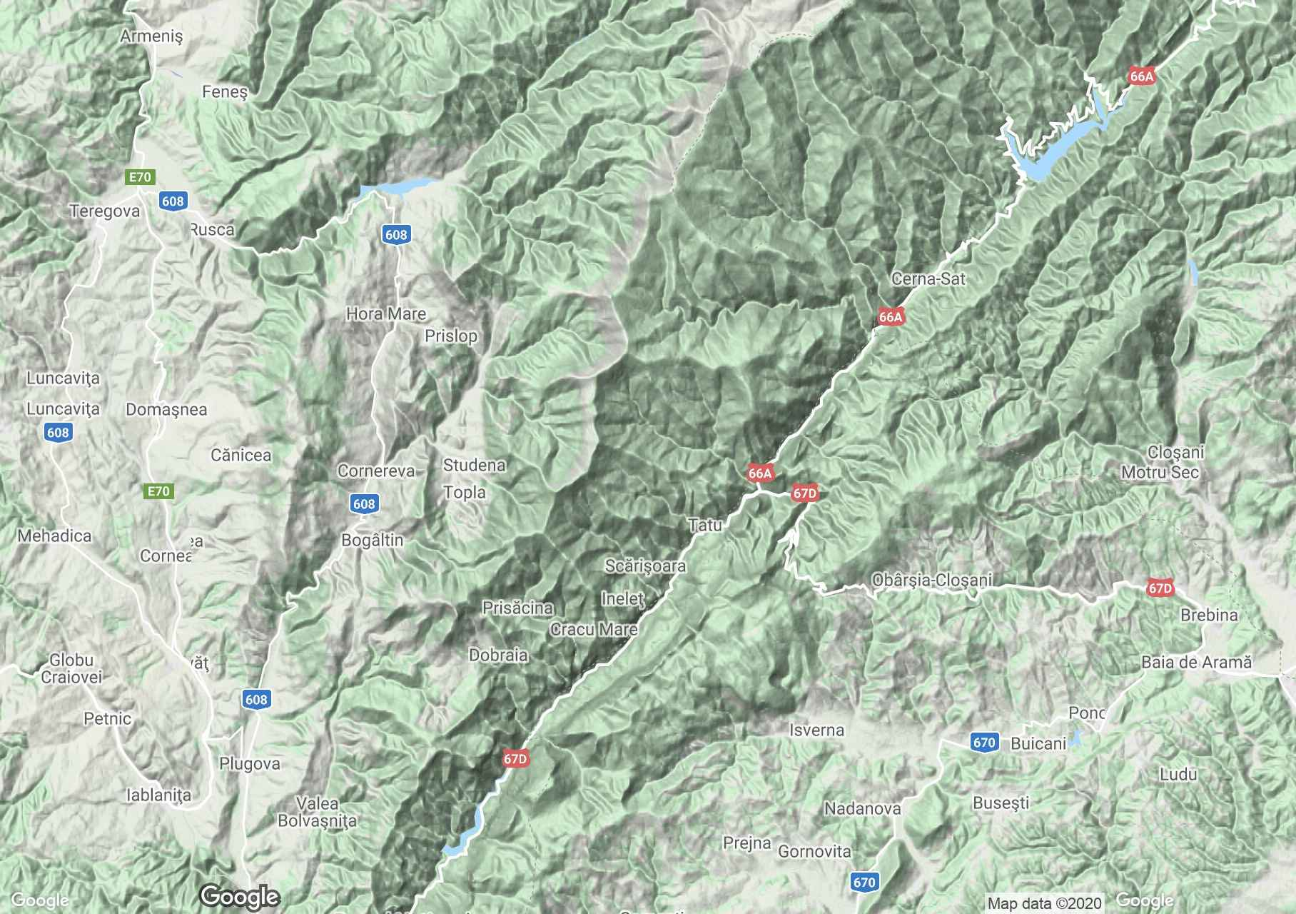 Cernei Mountains, Interactive tourist map