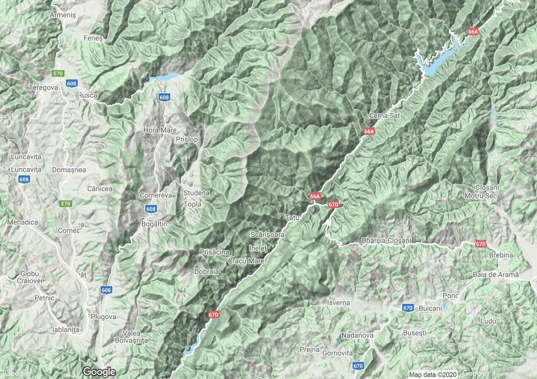 Munţii Cernei, Harta turistică interactivă