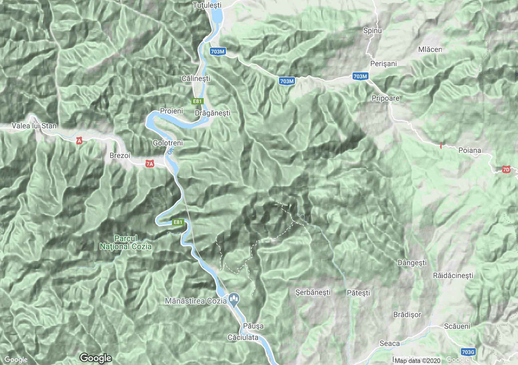 Cozia-hegység interaktív turista térképe.