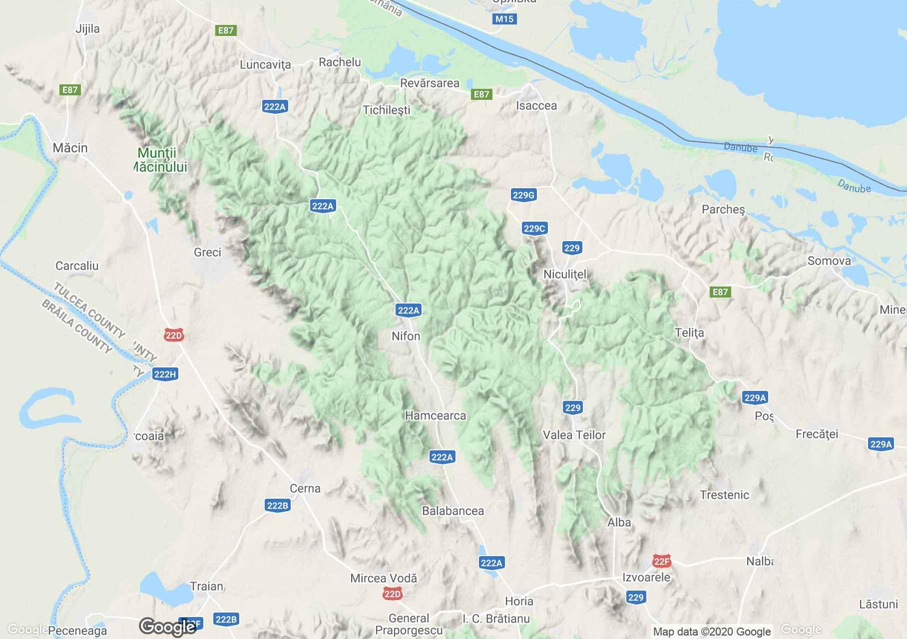 Culmea Niculiţelului hegység interaktív turista térképe.