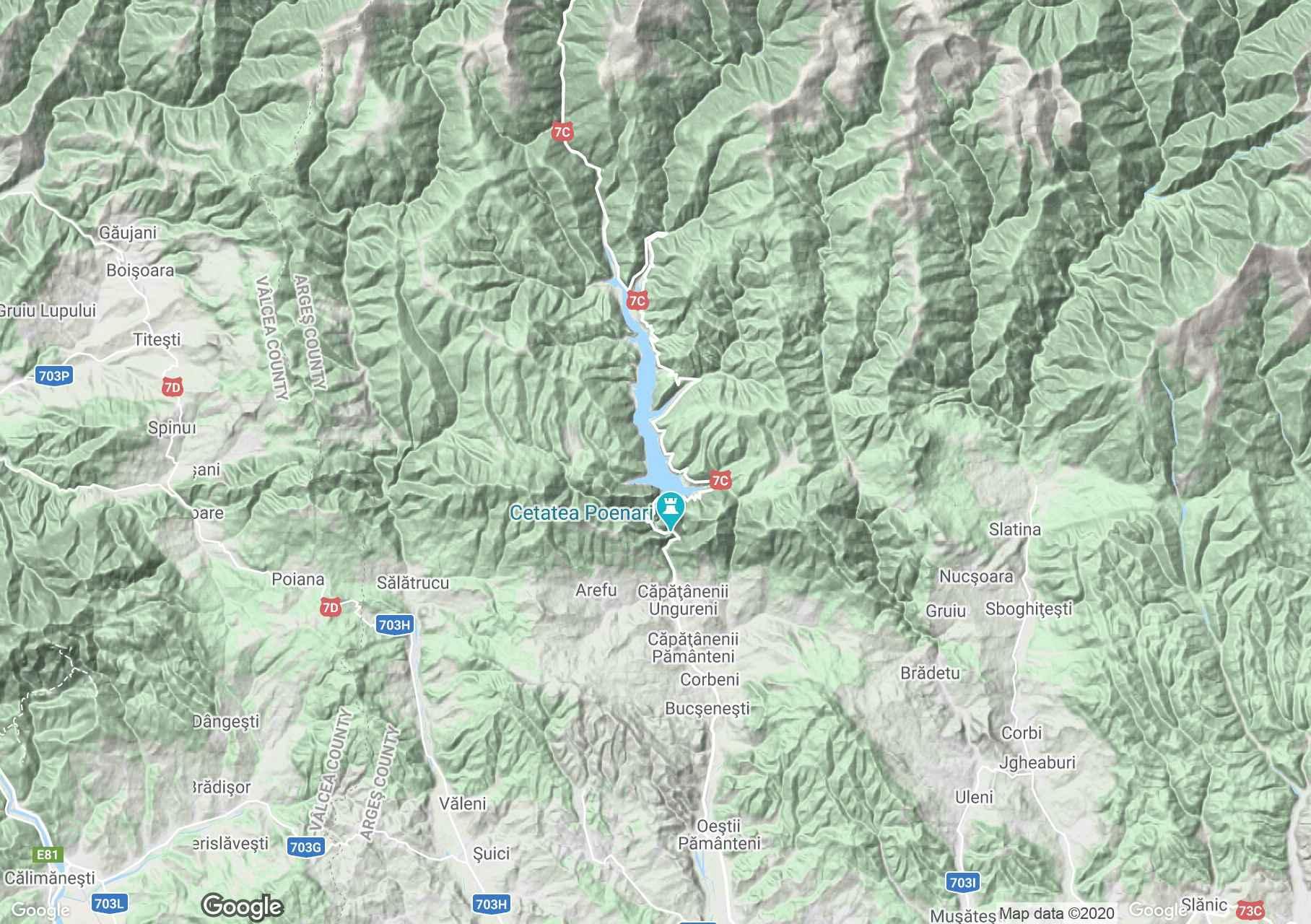 Fogarasi havasok: Vidraru környéke interaktív turista térképe.