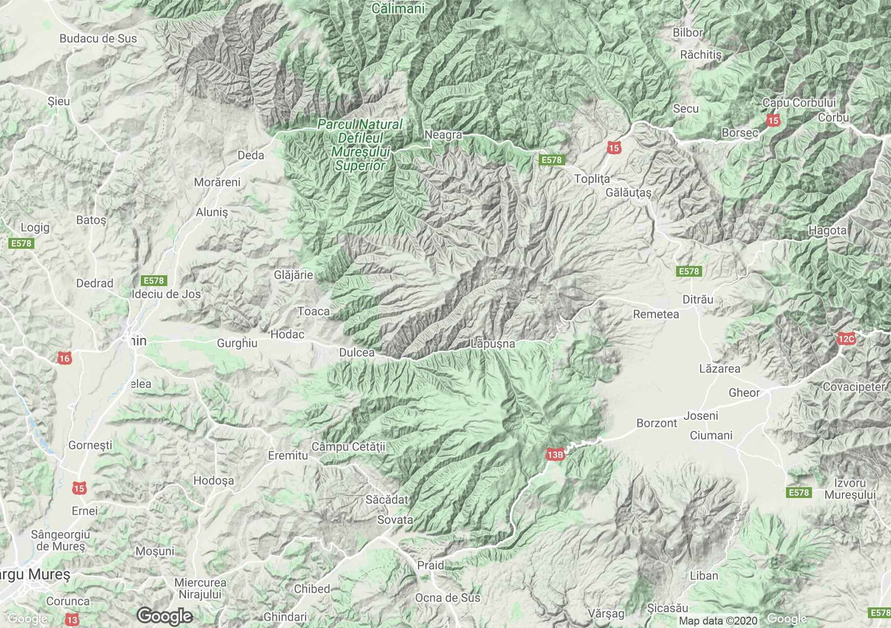 Gurghiului Mountains, Interactive tourist map