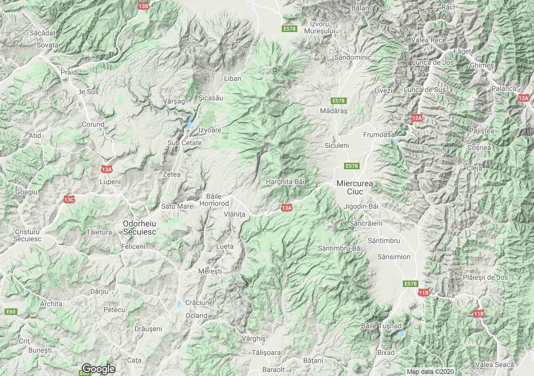 Hargita-hegység interaktív turista térképe.