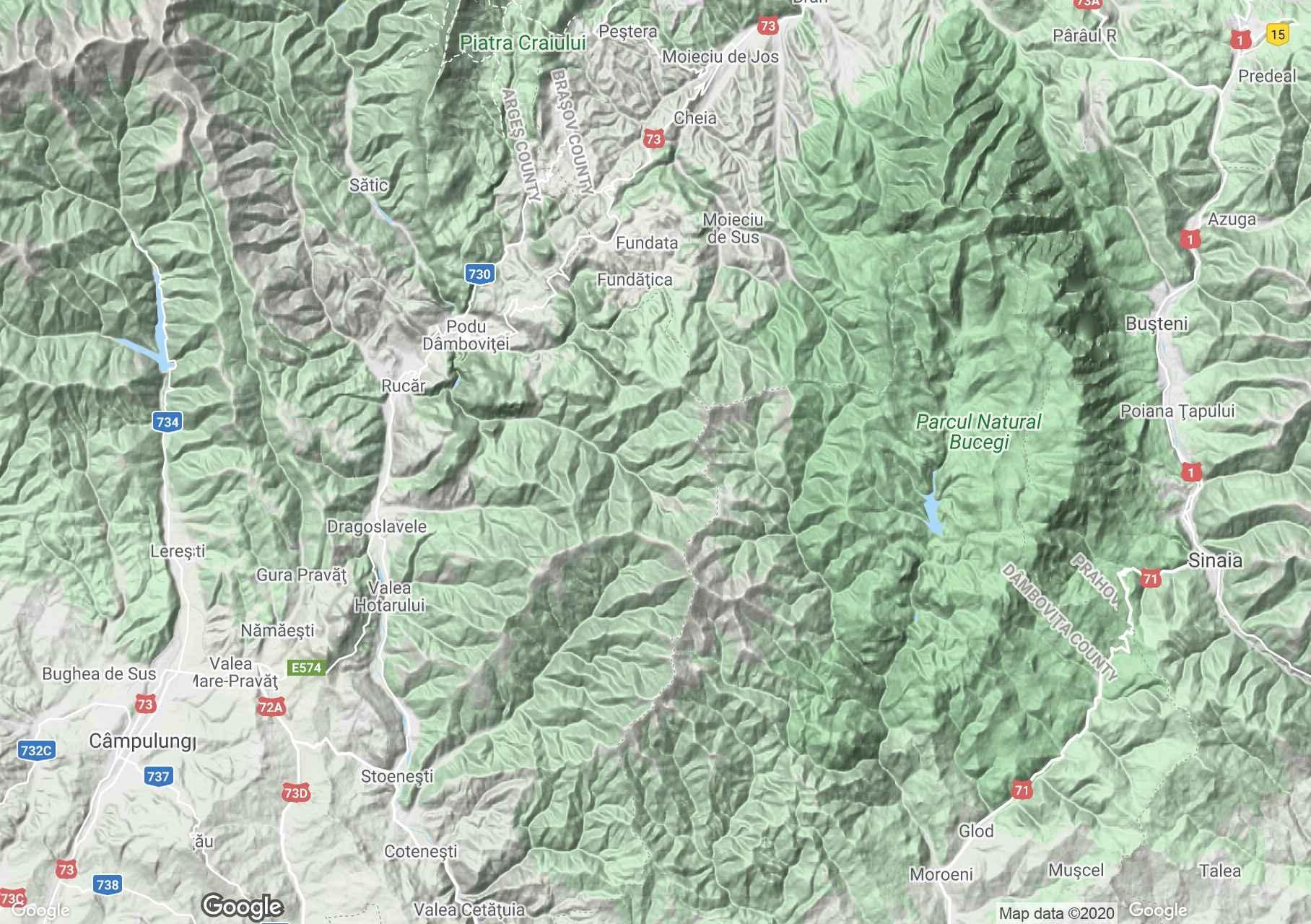 Munţii Leaotă, Harta turistică interactivă