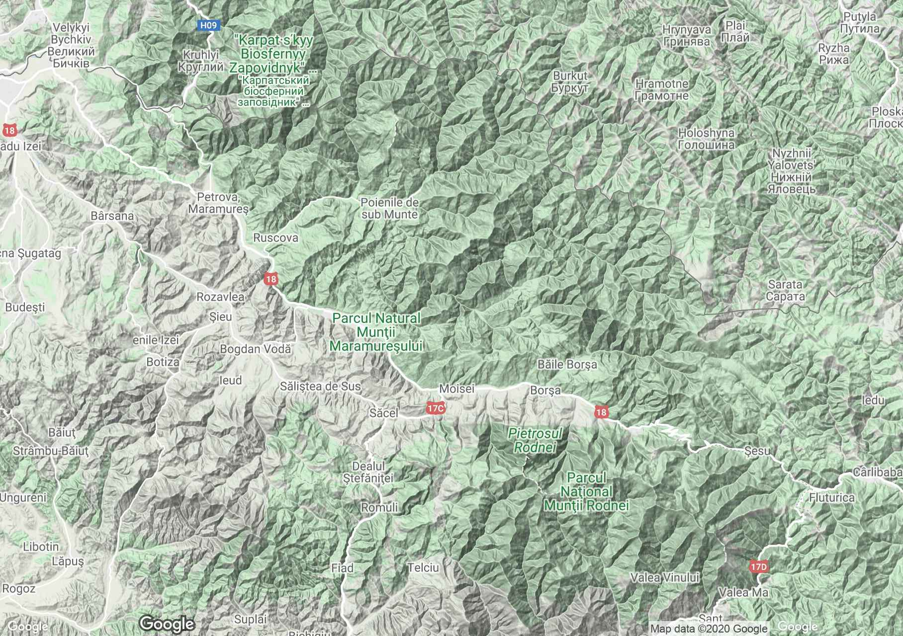 Máramarosi-havasok interaktív turista térképe.