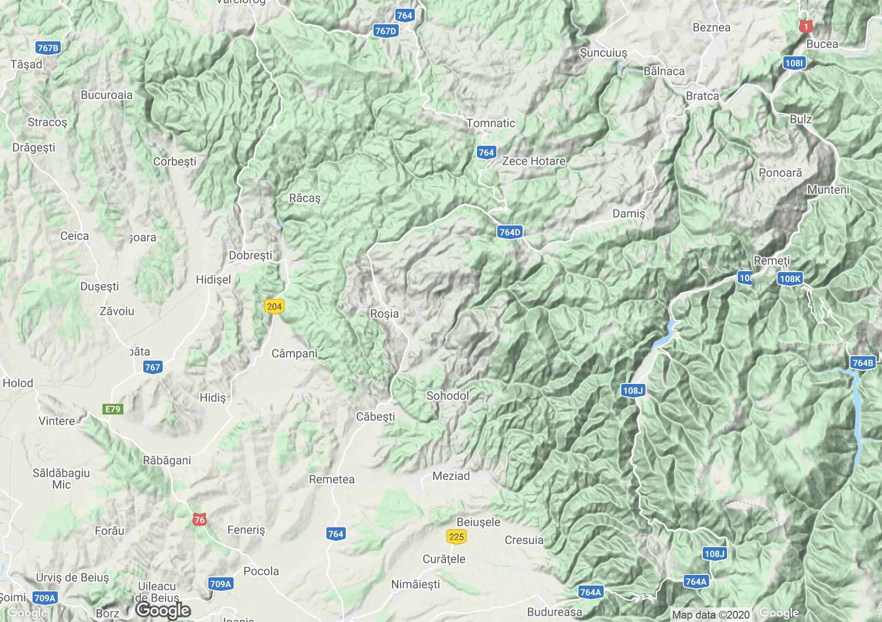 Pădurea Craiului Mountains: Roşia area, Interactive tourist map