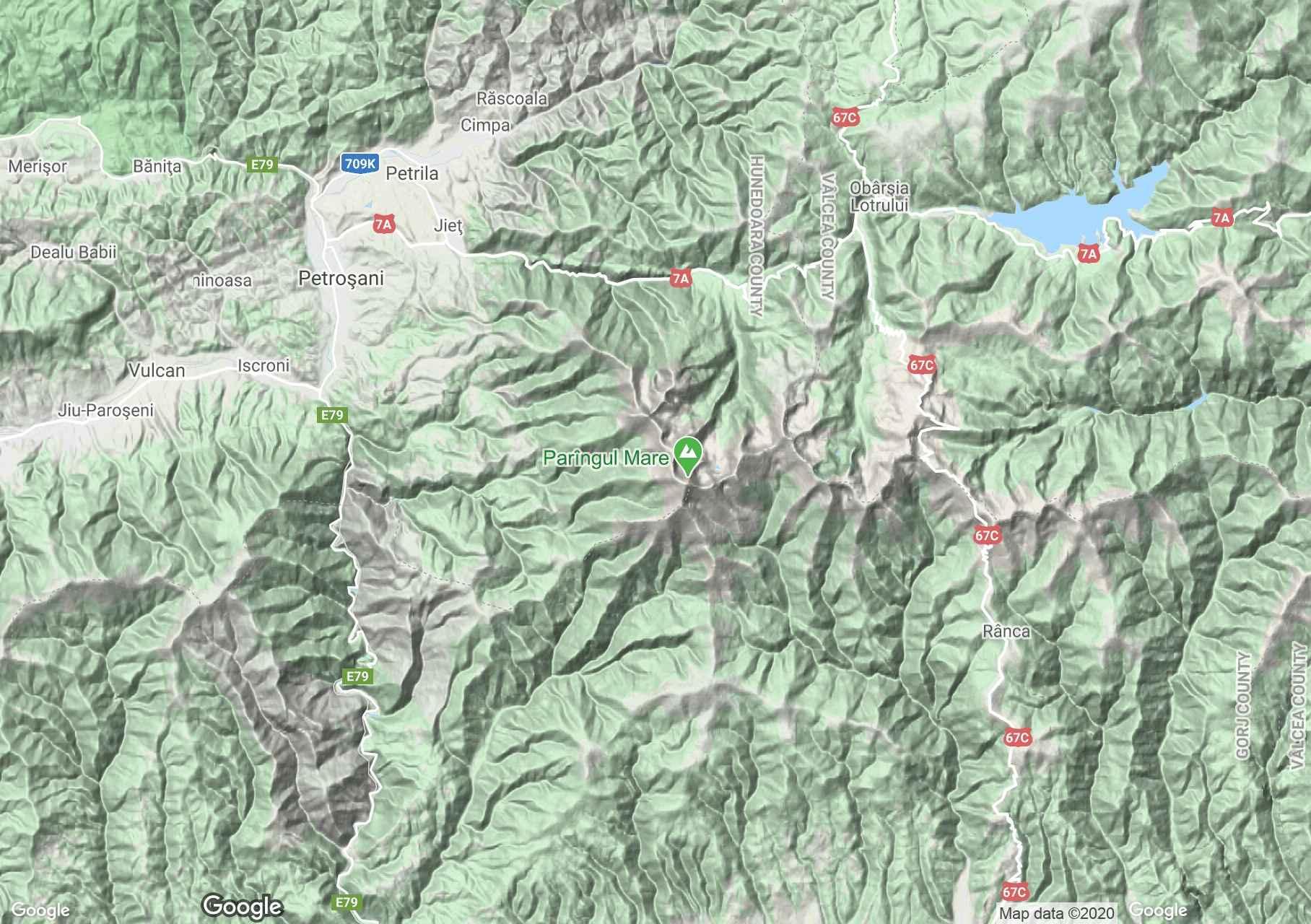 Munţii Parâng, Harta turistică interactivă