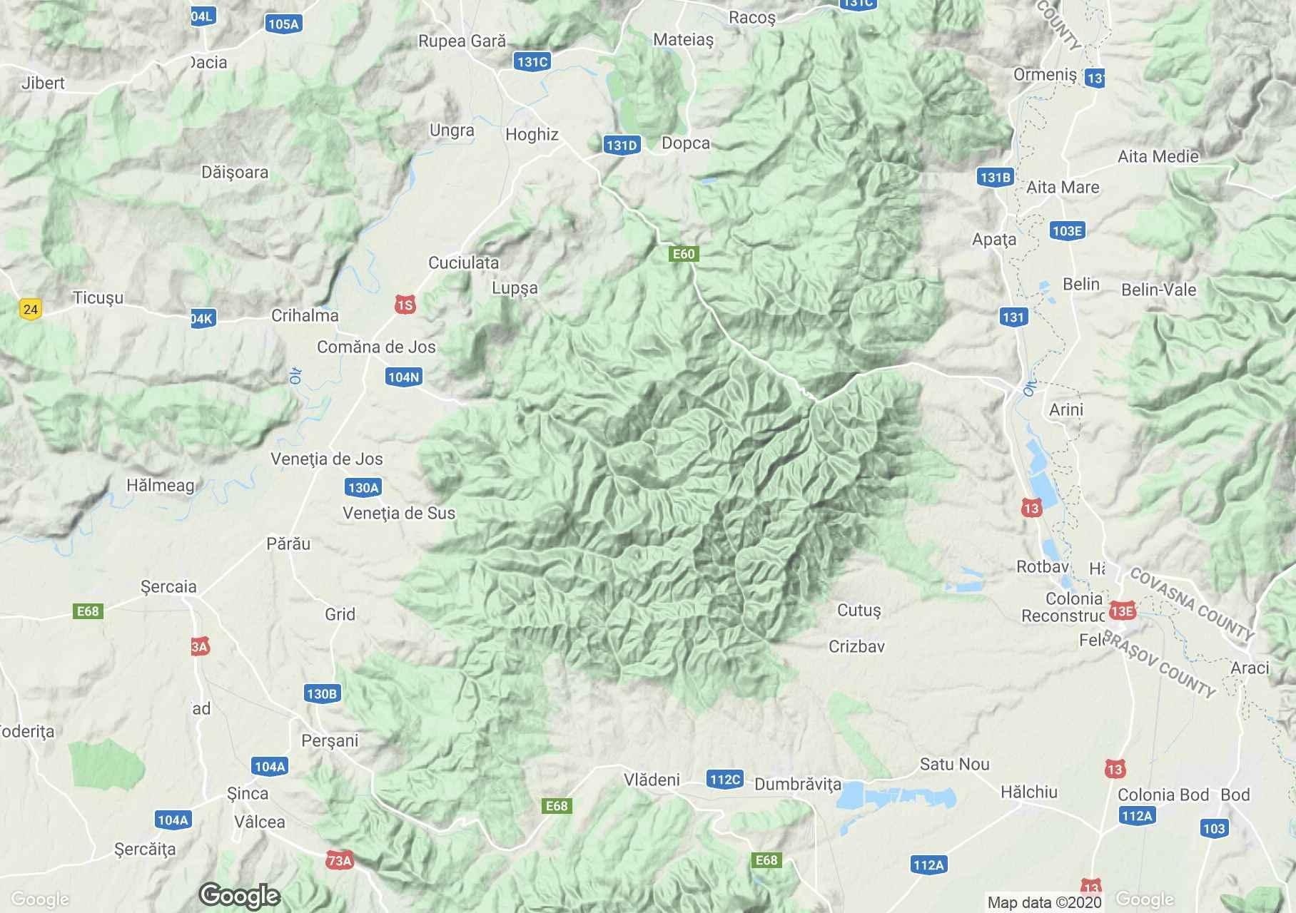 Peşani Mountains, Interactive tourist map