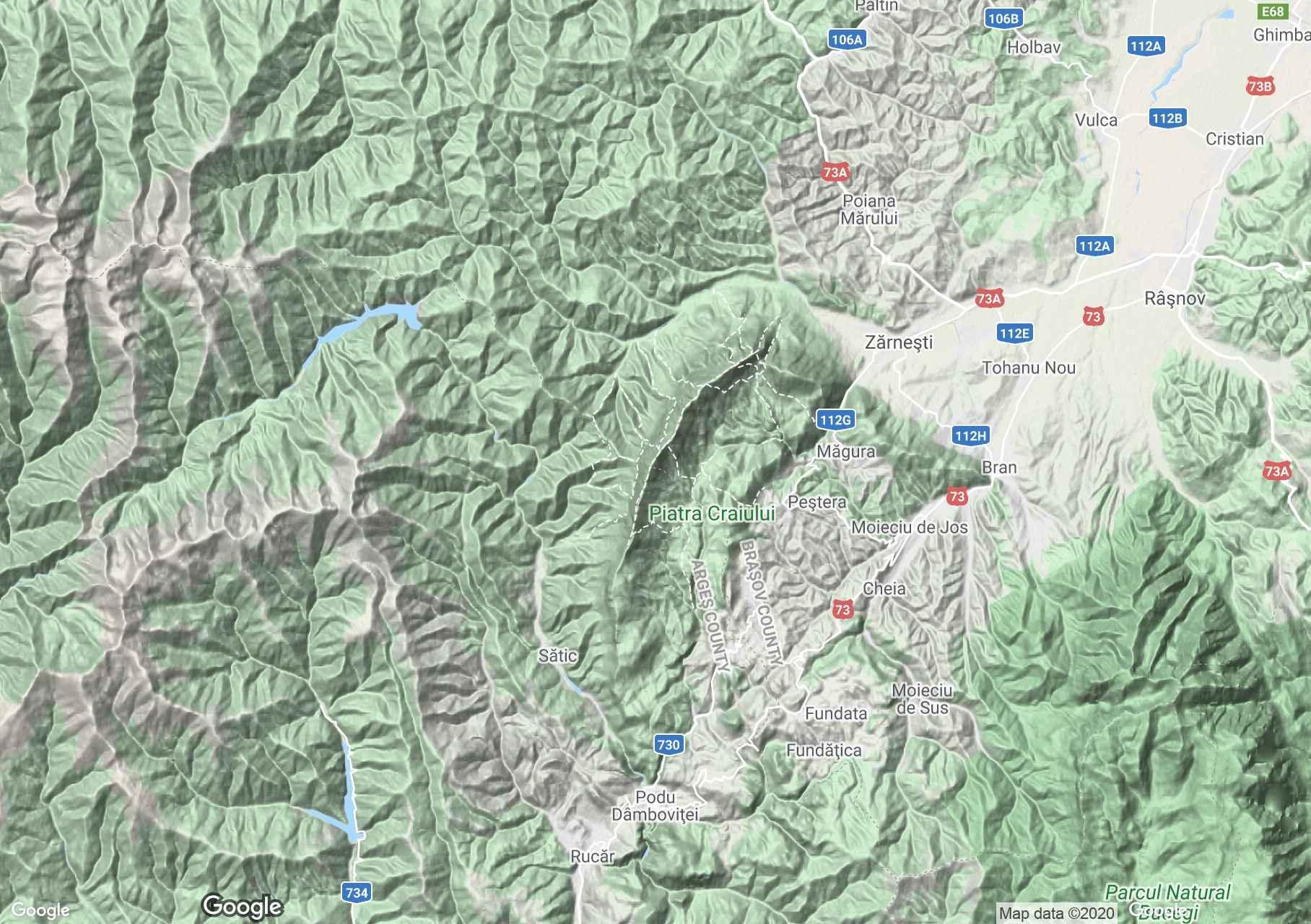 Munţii Piatra Craiului, Harta turistică interactivă