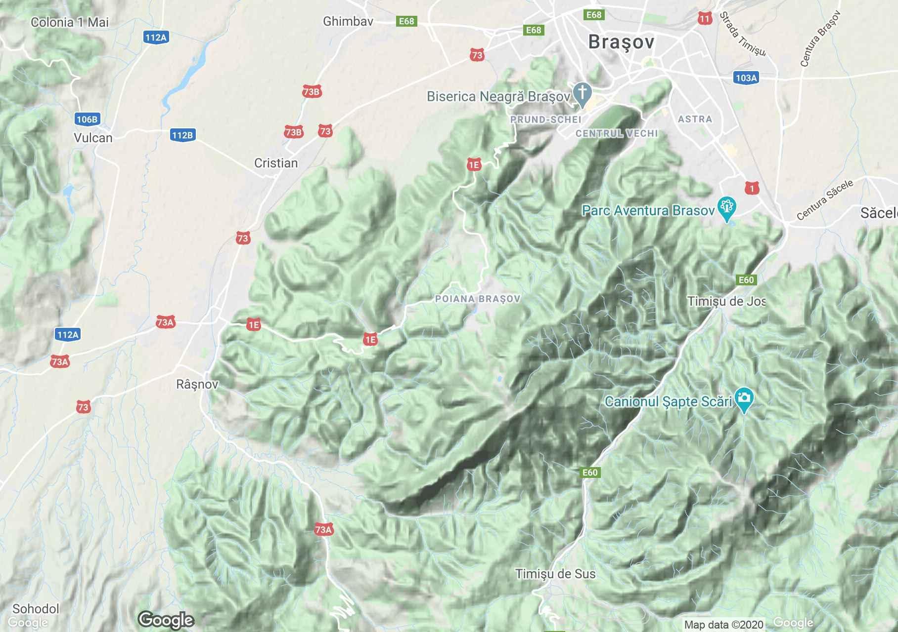 Postăvaru Mountains, Interactive tourist map