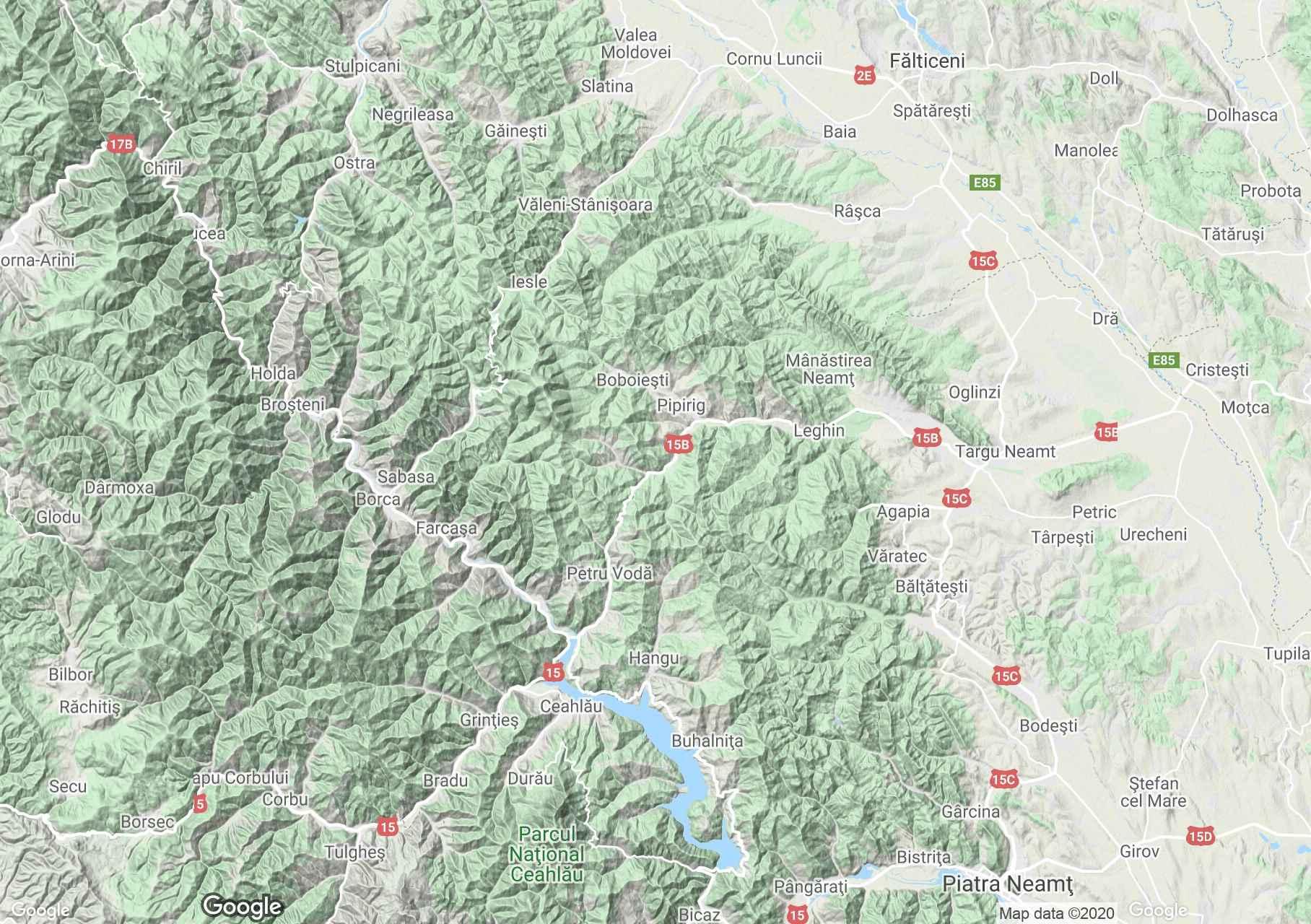 Munţii Stânişoarei, Harta turistică interactivă