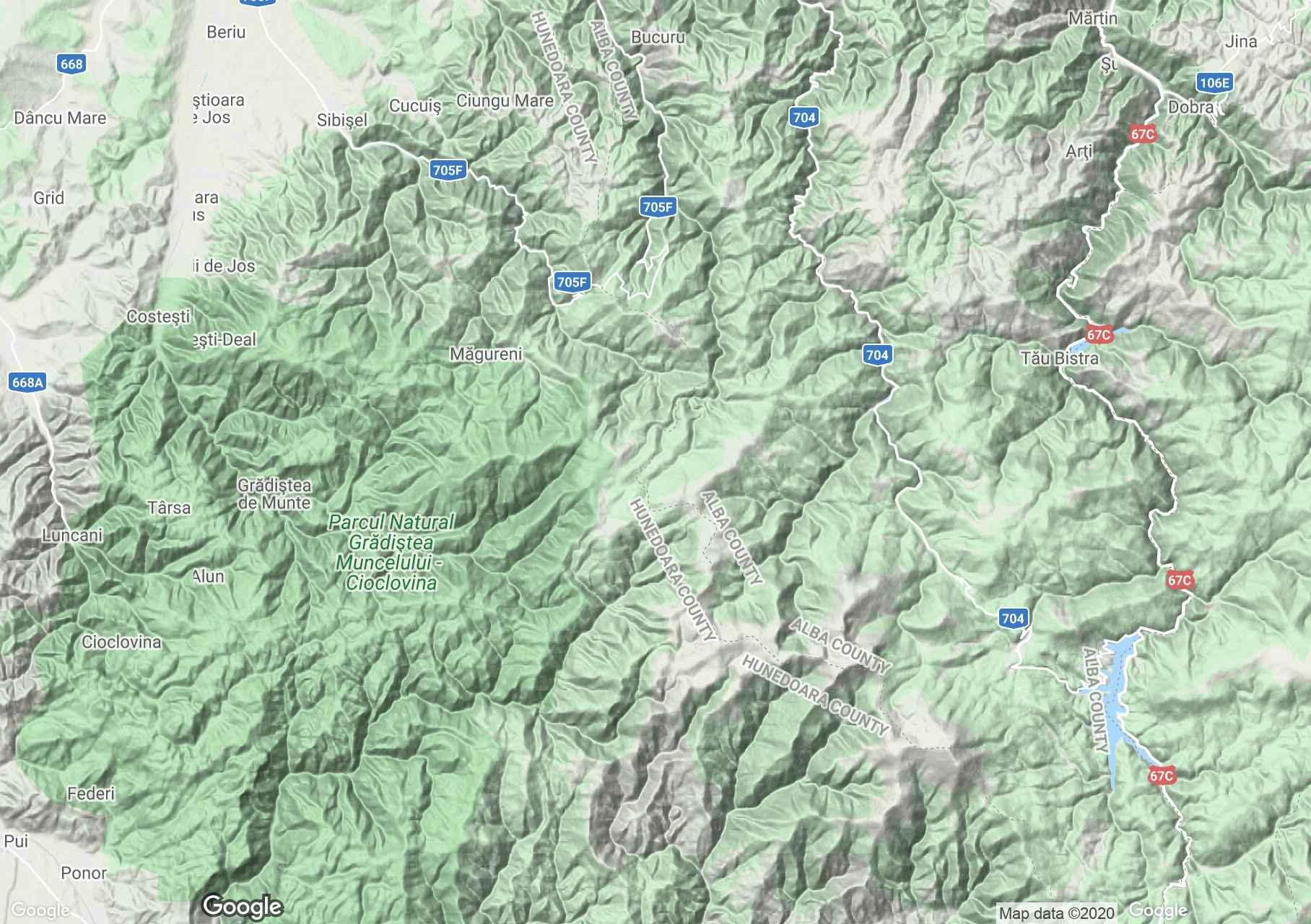 Munţii Şureanu, Harta turistică interactivă