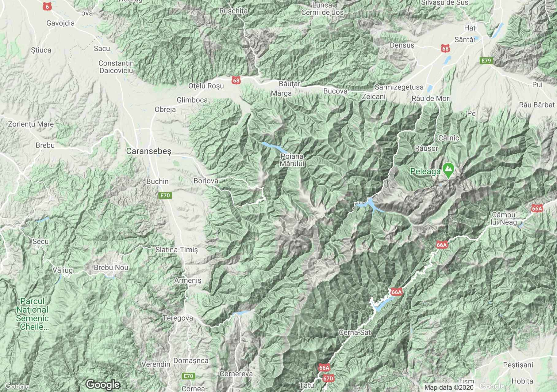 Munţii Ţarcu, Harta turistică interactivă