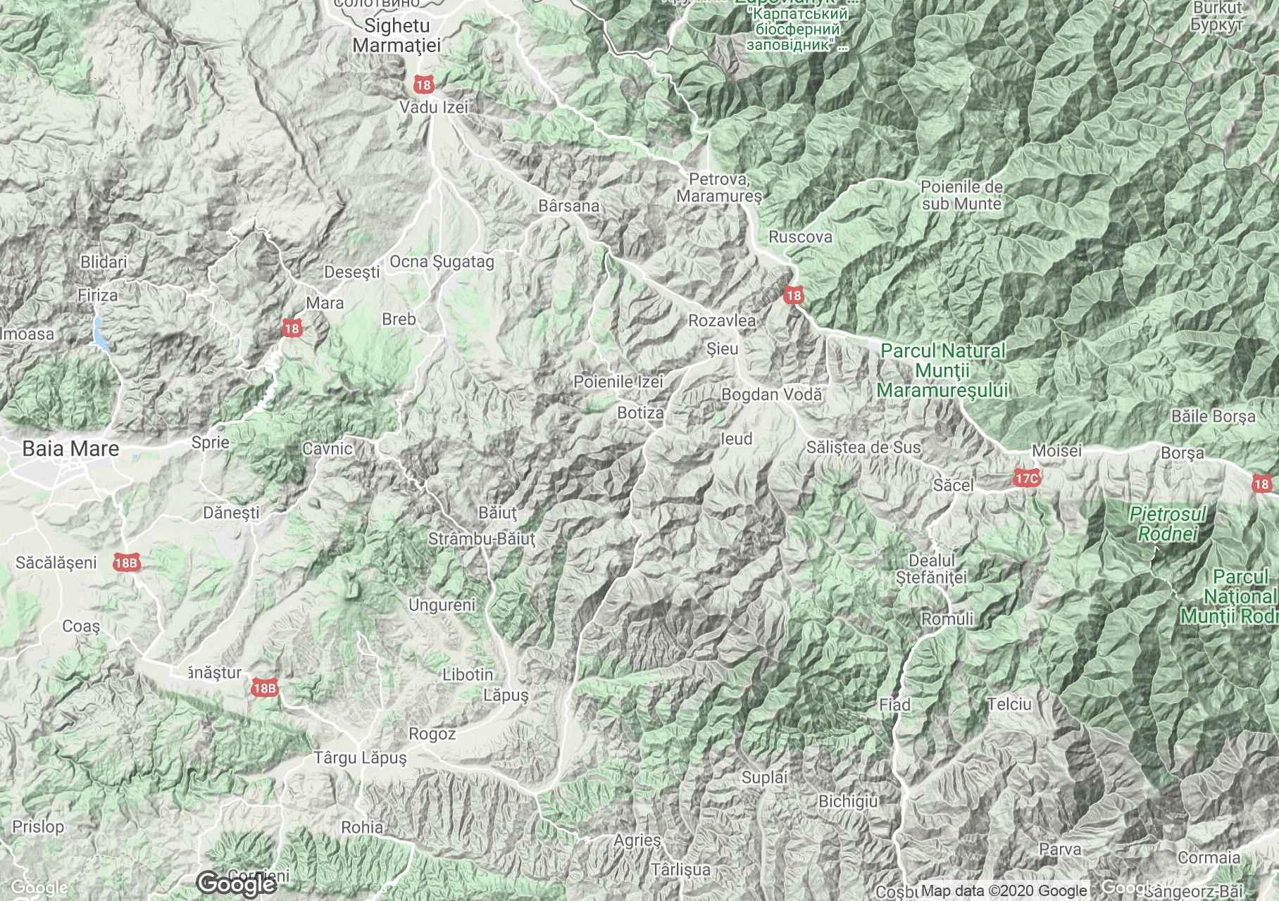 Cibles-hegység interaktív turista térképe.