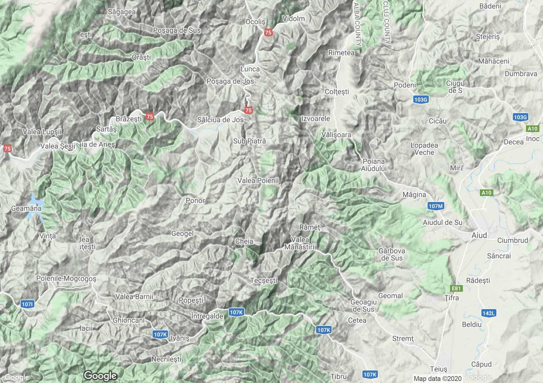 Trascău Mountains: Şipote waterfall-Râmeţului gorge, Interactive tourist map