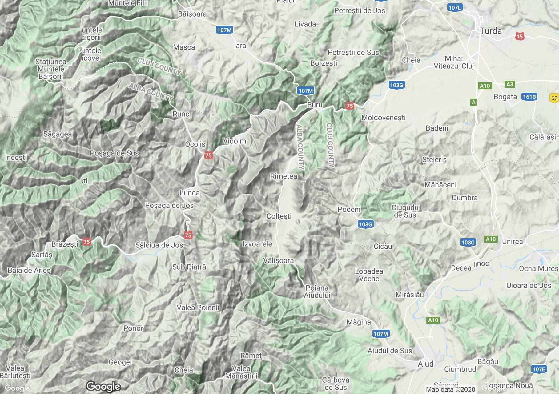 Trascău Mountains: Rimetea-Colţeşti area, Interactive tourist map