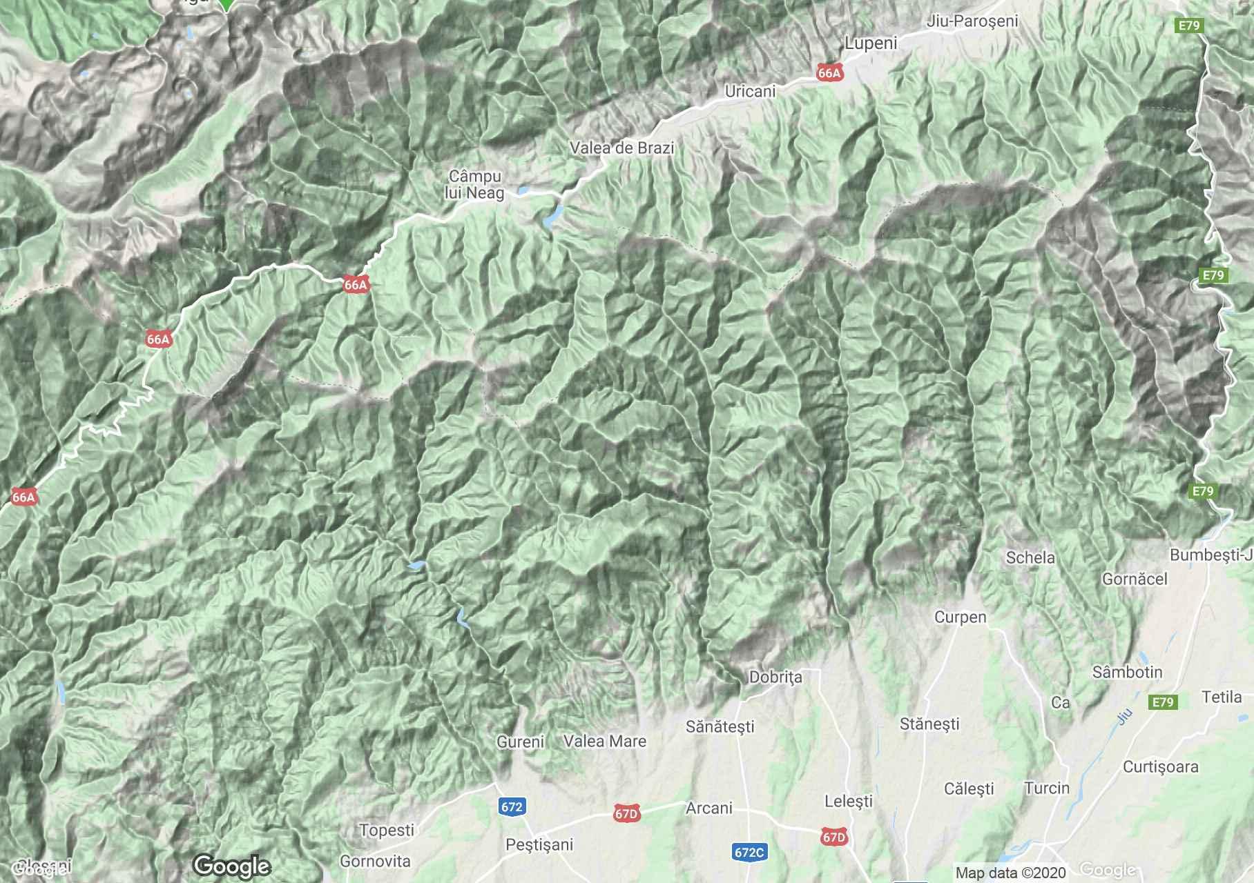 Munţii Vâlcan, Harta turistică interactivă